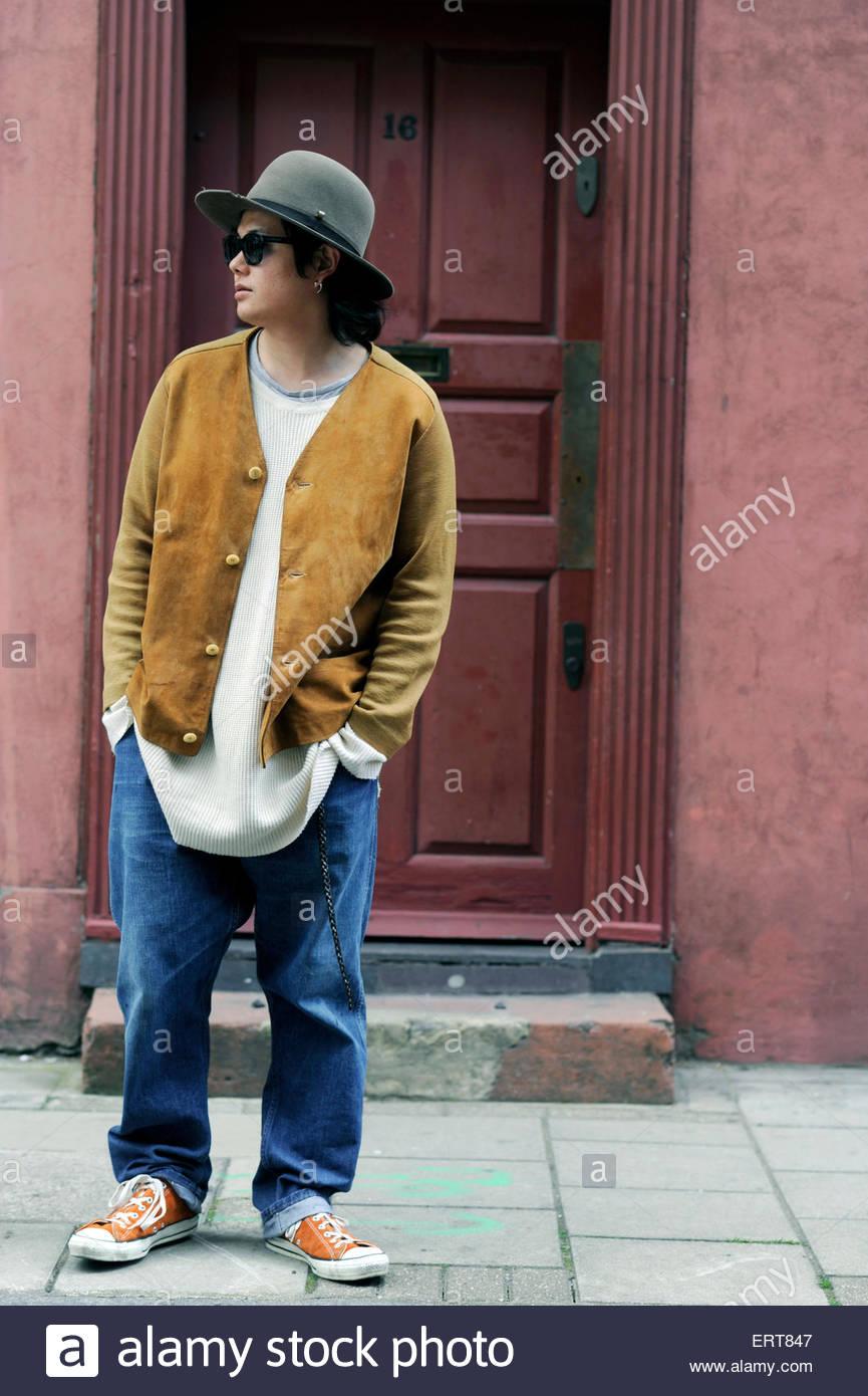 Mens Fashion Wilkes Street, London, Street Style Fashion. - Stock Image