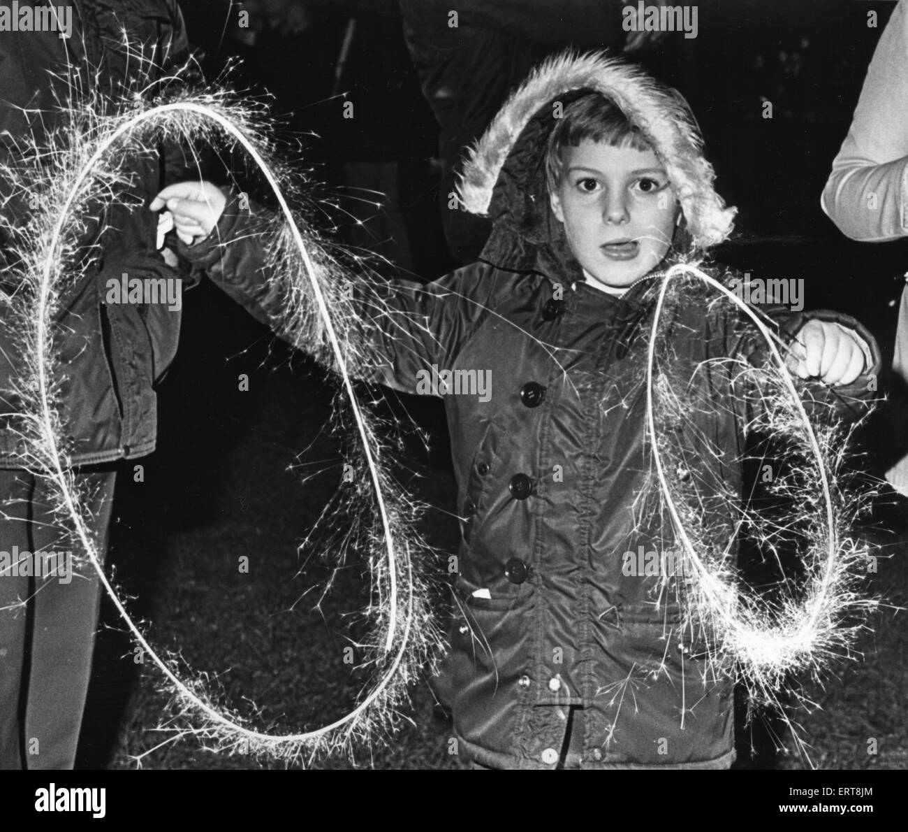 Andrew Backhouse aged 7 of Acklam seen here enjoying sparklers on bonfire night in Middlesbrough 5th November 1979 - Stock Image