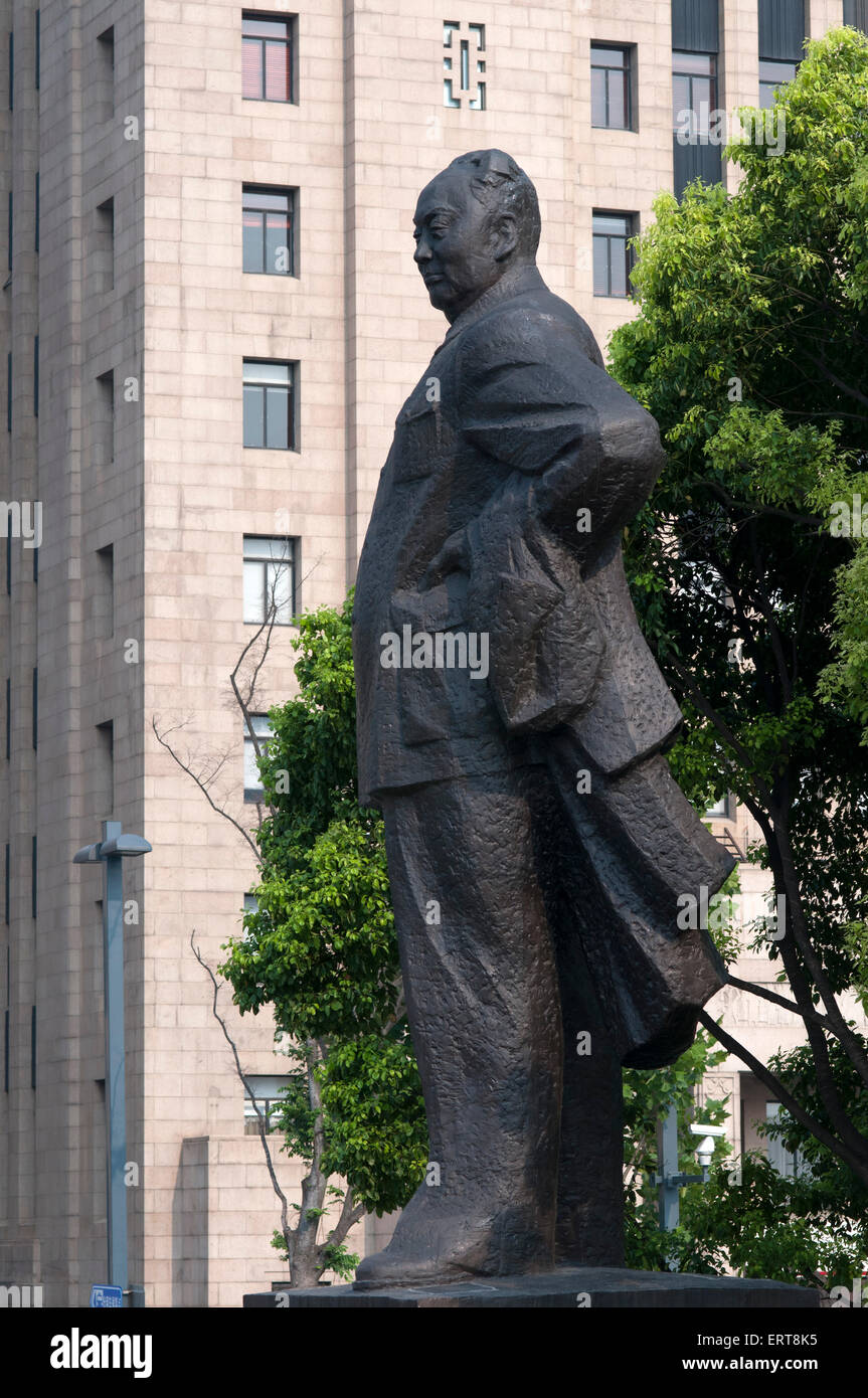 Chairman Mao statue on the Bund in central shanghai, Chen Yi Statue. China. The statue of Chen Yi the Communist - Stock Image