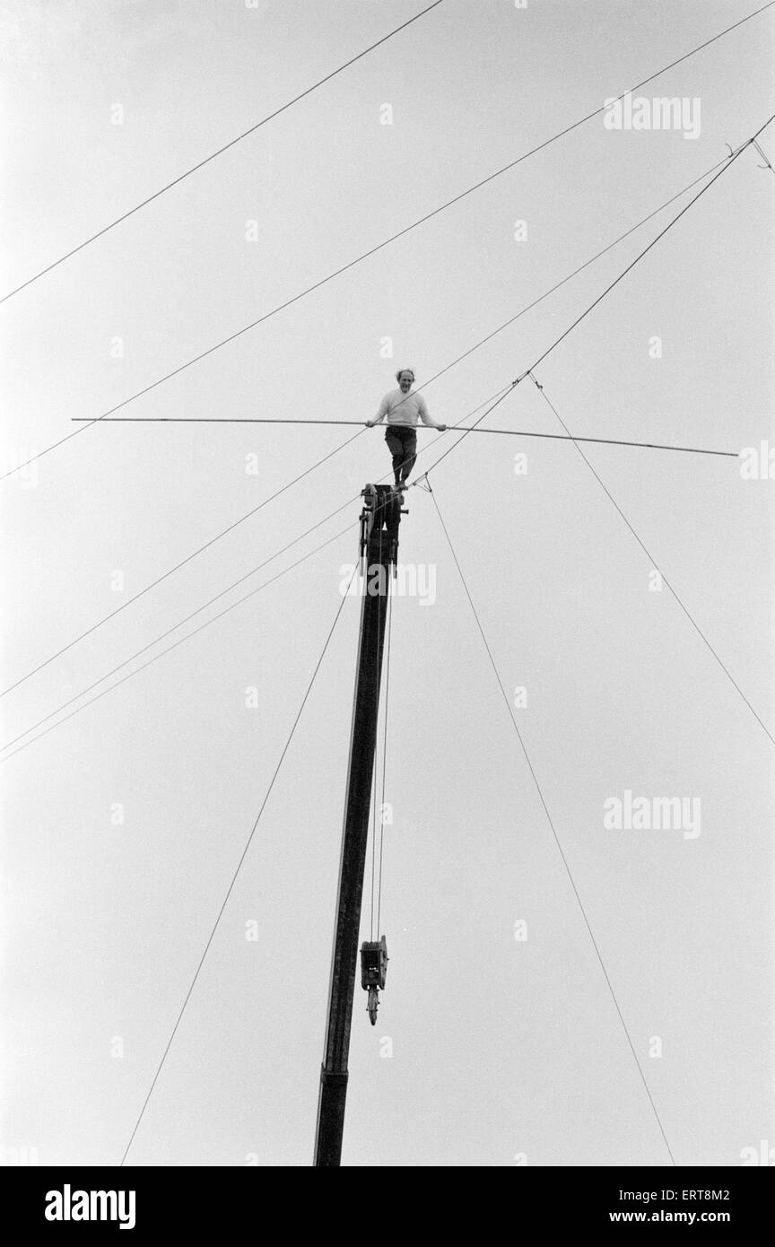 Karl Wallenda, Tightrope Walker, crosses over Europe's largest circus tent wire, Mary Chipperfield's, currentlyStock Photo