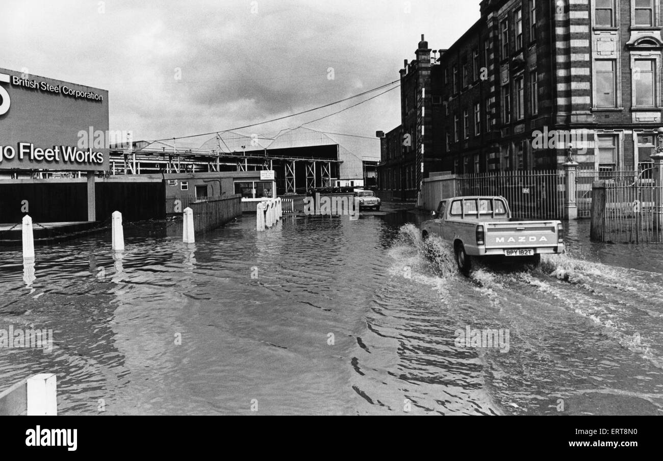 Flooded entrance to the Cargo Fleet Works of British Steel, South Bank 21st May 1979 - Stock Image