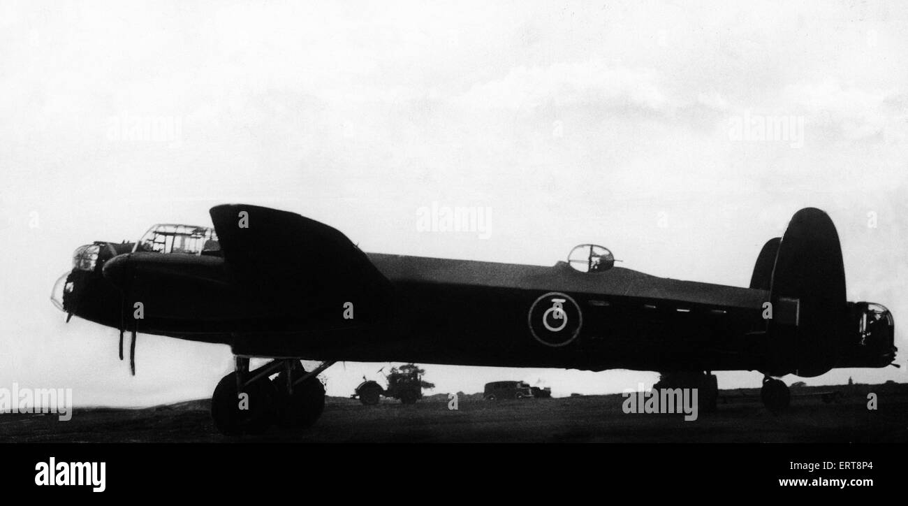 Avro Lancaster bomber of the Royal Air Force during the Second World War.  Circa 1943. Stock Photo