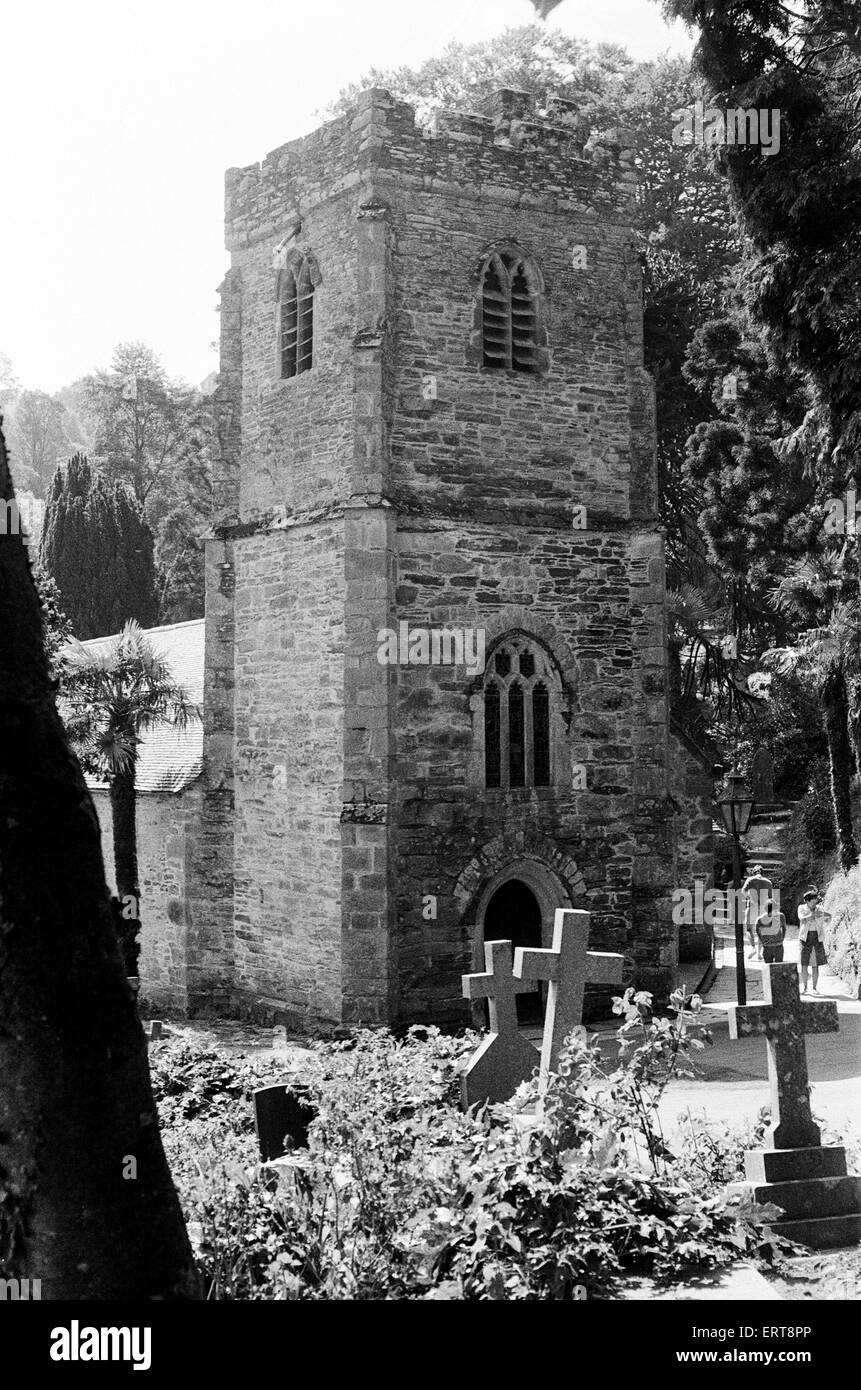 The 13th century St Just in Roseland Church, in St Just in Roseland, Cornwall. The church is set in set in riverside - Stock Image