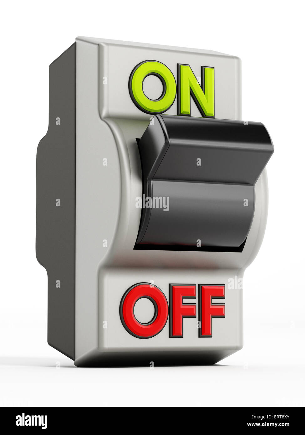 On off button isolated on white background - Stock Image