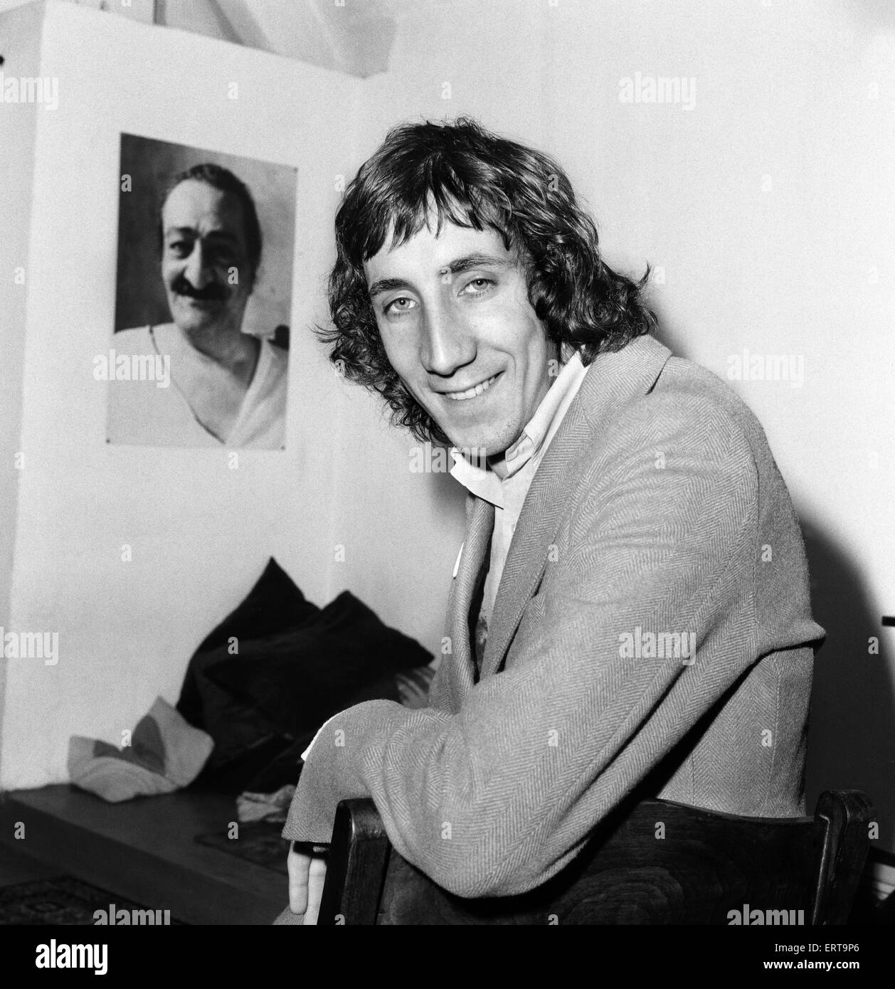 Pete Townshend of British rock group The Who, pictured as he gives a press conference about drugs at Wardour Street, - Stock Image