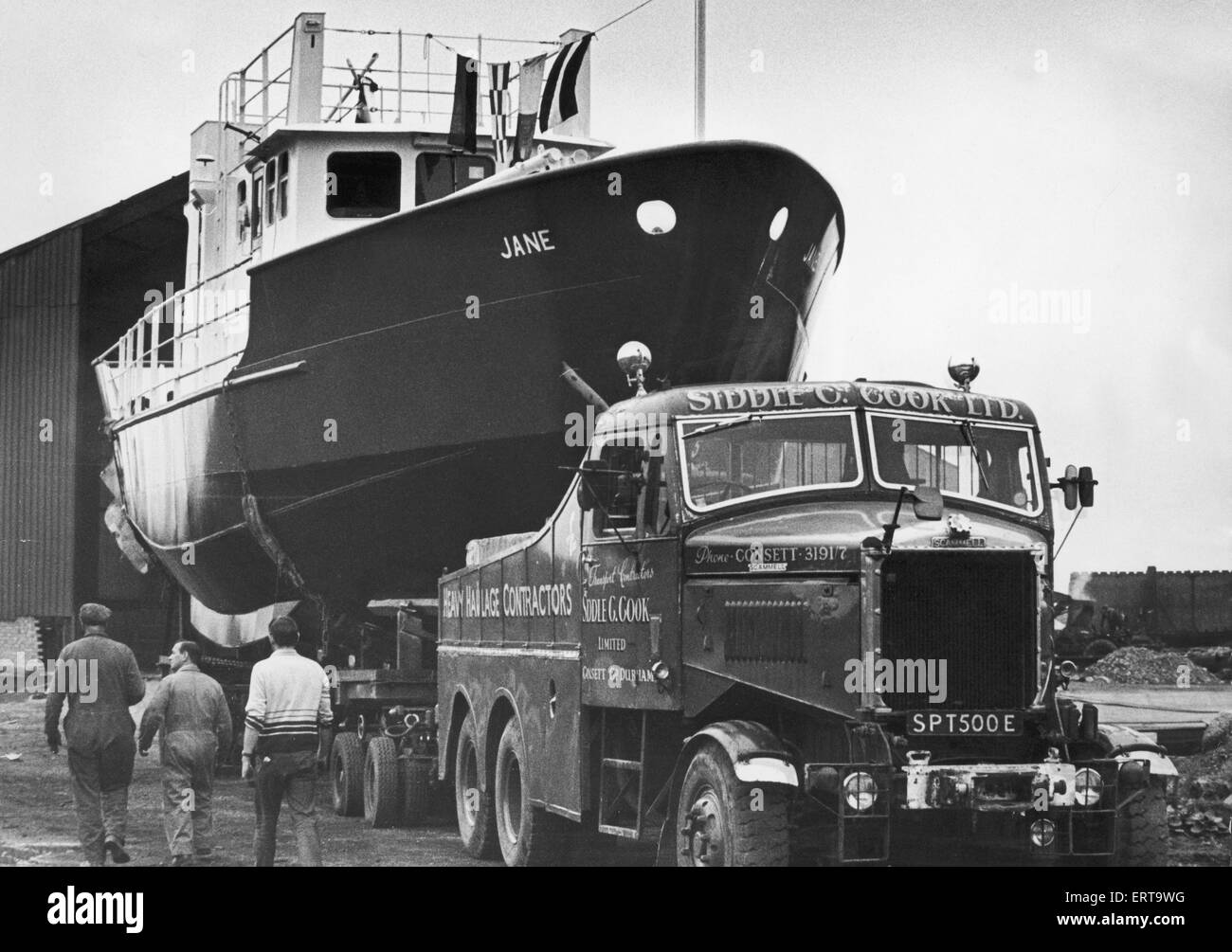 The Jane built by Tees Marine seen here at Normanby Wharf waiting to be lowered into the water. The Jane has been - Stock Image