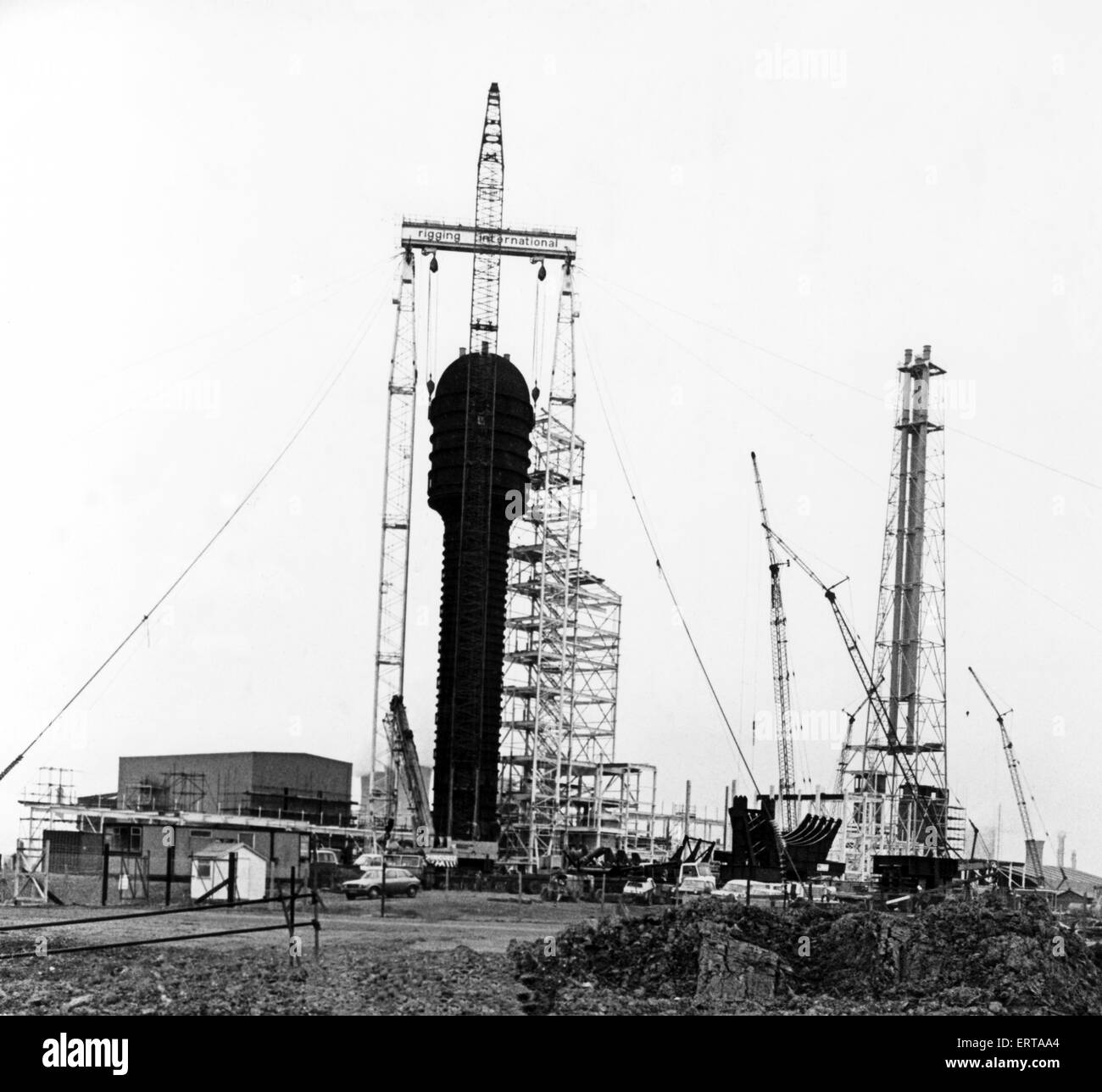 ICI, Billingham. On the left is the 200 foot long steel fermenter in position at the ¿40 million Pruteen plant, - Stock Image