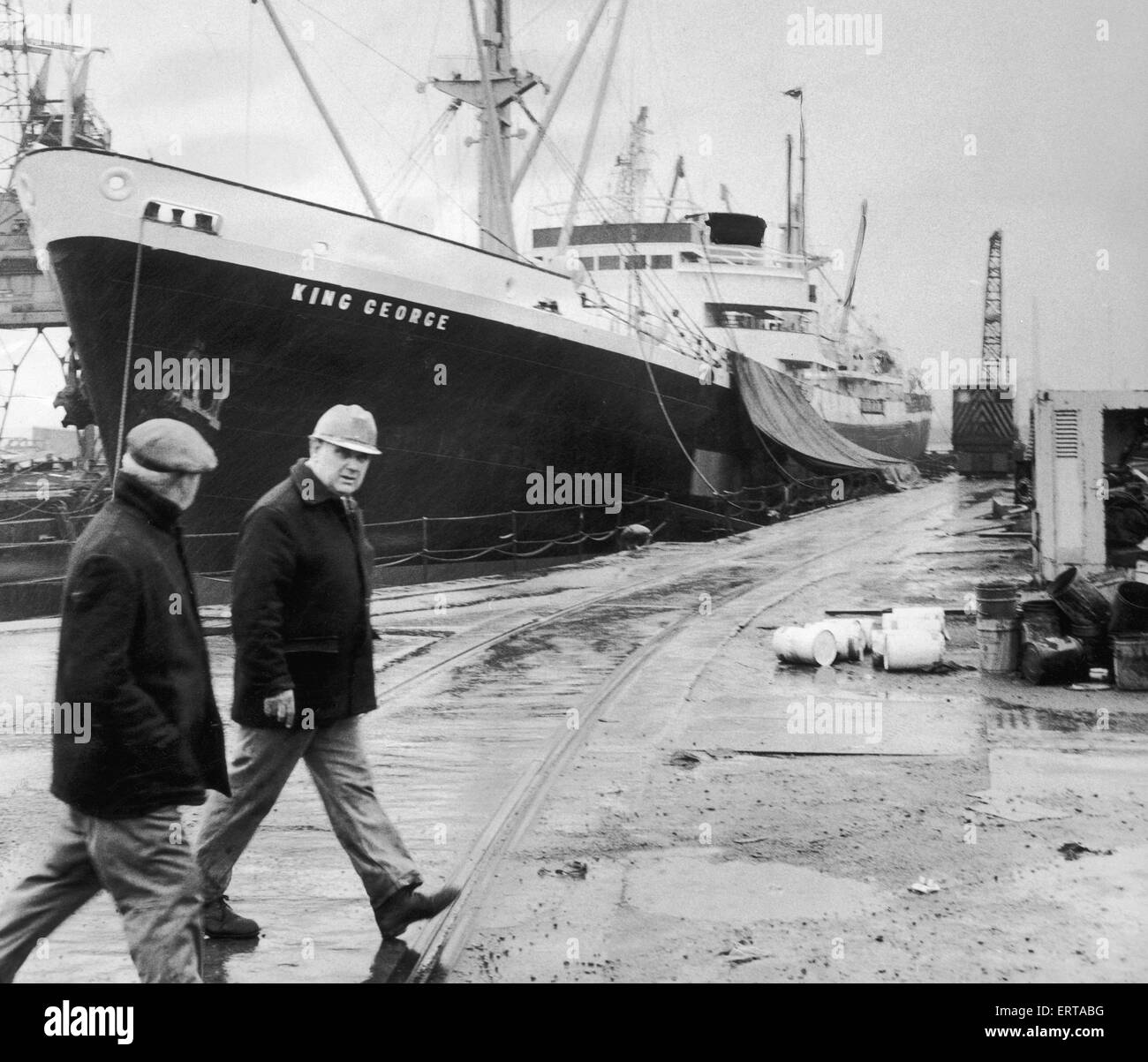 The King George berthed at Smith's Dock had to be evacuated along with the shipyard following a bomb threat. - Stock Image