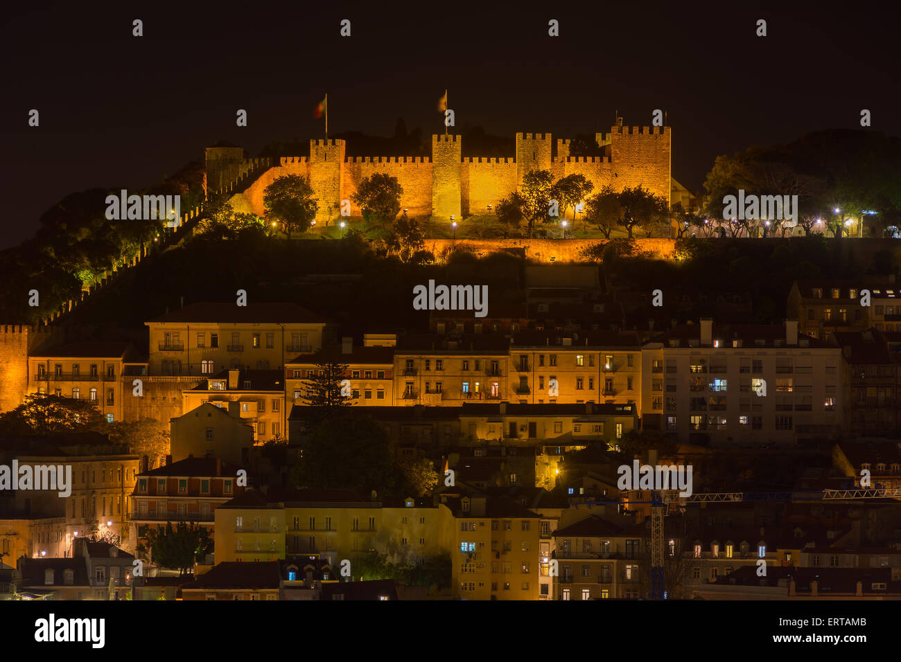 Saint George Castle in Lisbon  Portugal at night - Stock Image