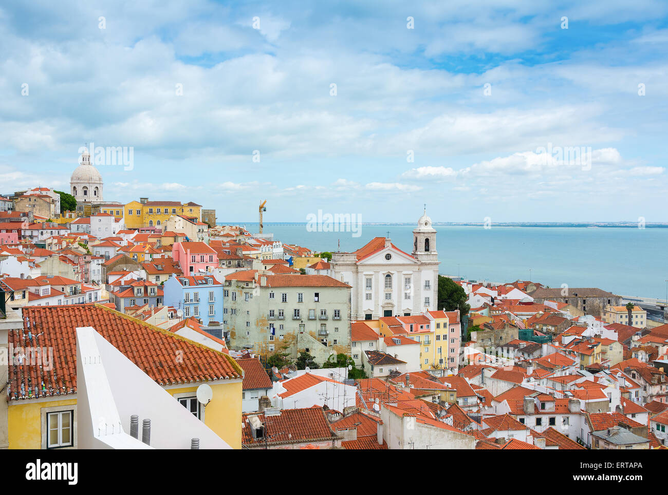 Cityscape view of Lisbon Portugal over the Alfama District. - Stock Image