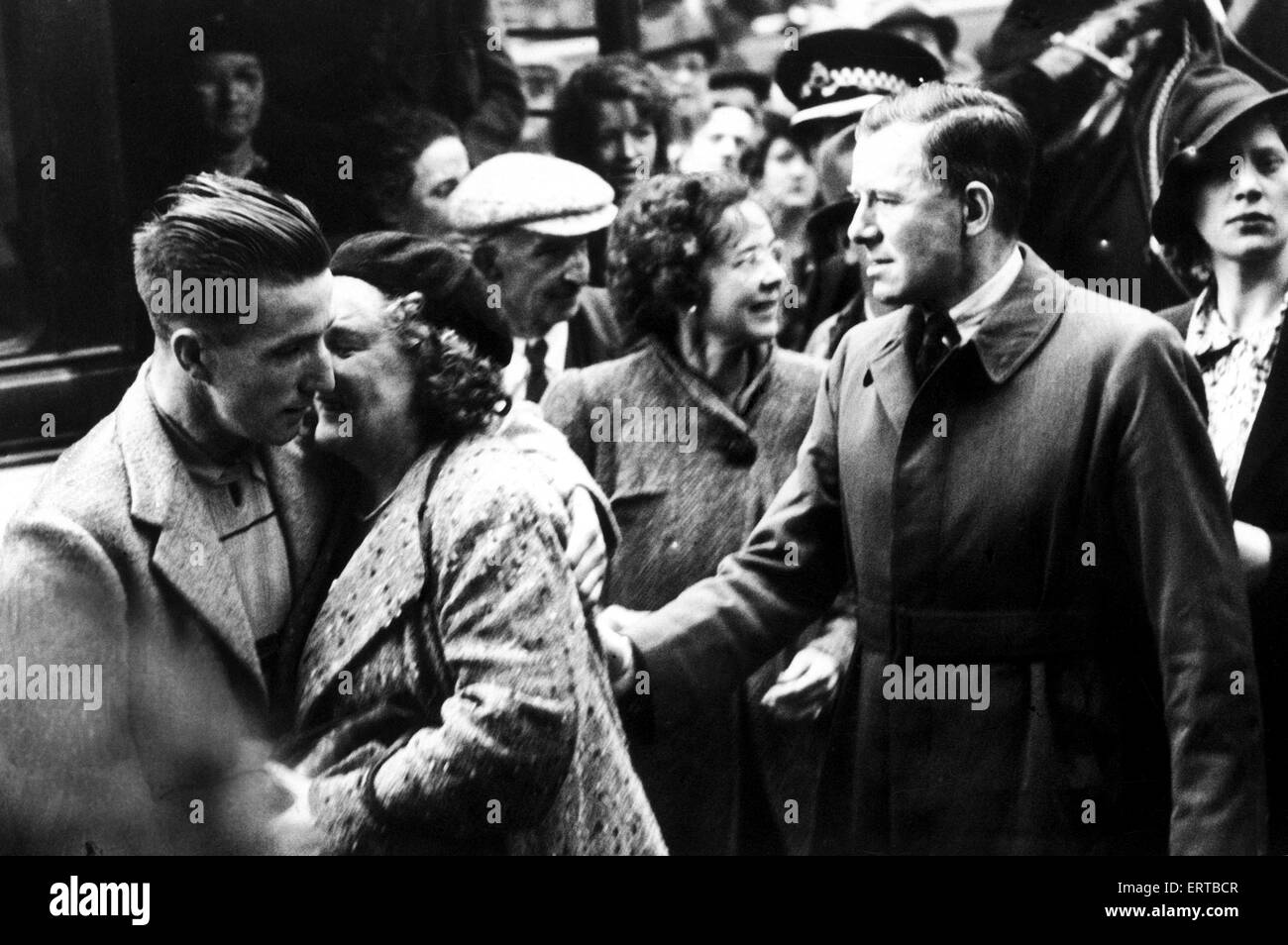 Survivors of SS Athenia in Glasgow. SS Athenia was the first British ship to be sunk by Nazi Germany in World War - Stock Image