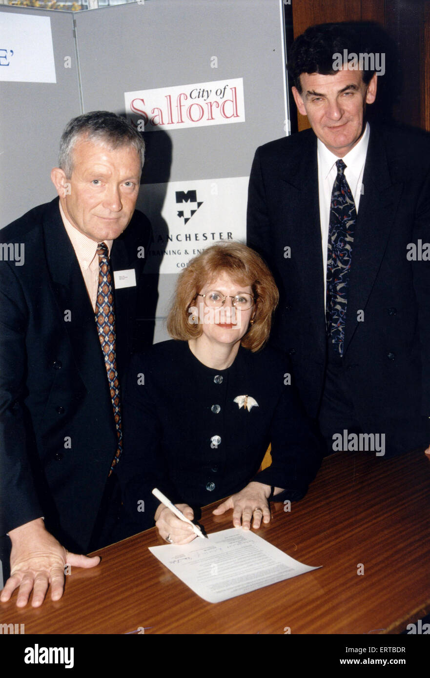 Signing of Construction Charter, for Trafford Centre, at Trafford Town Hall, Manchester, 16th October 1995.  Pictured. - Stock Image