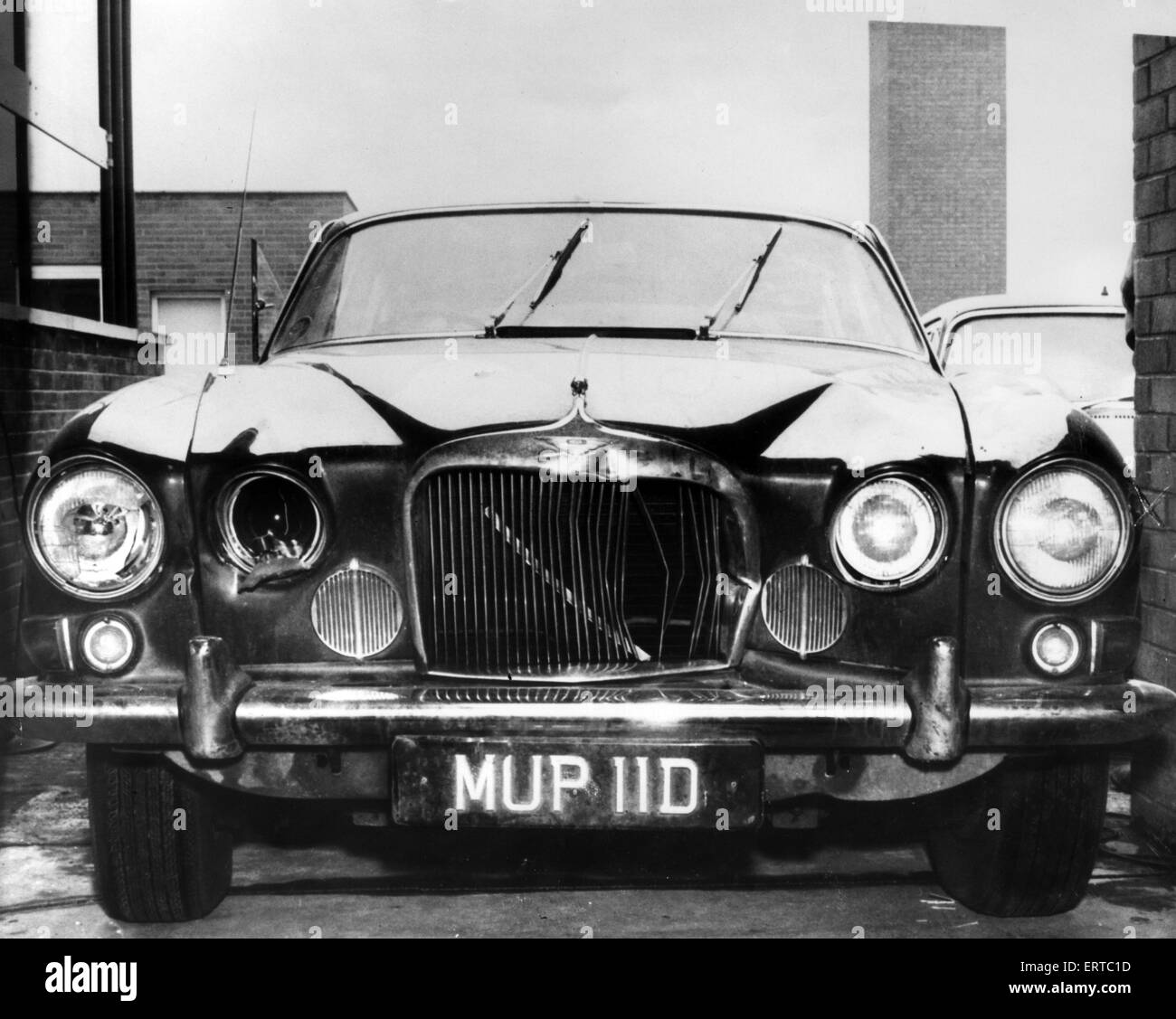 Mark X Jaguar saloon car, owned by murder victim Angus Sibbett, in which he was found lying across the back seat, - Stock Image