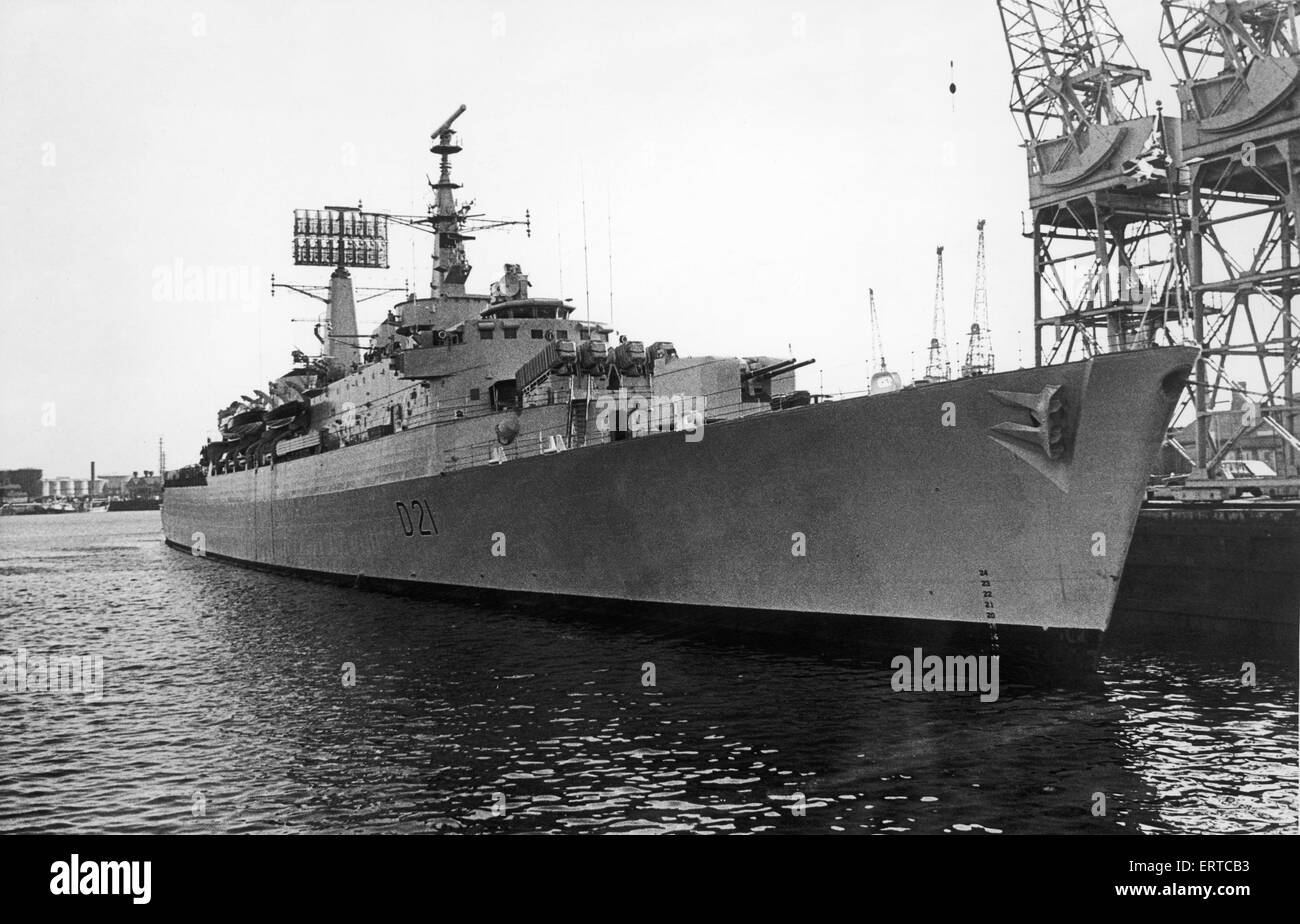 The County Class Destroyer HMS Norfolk seen here at her beth in Middlesbrough Dock during a visit to the City. 14th - Stock Image