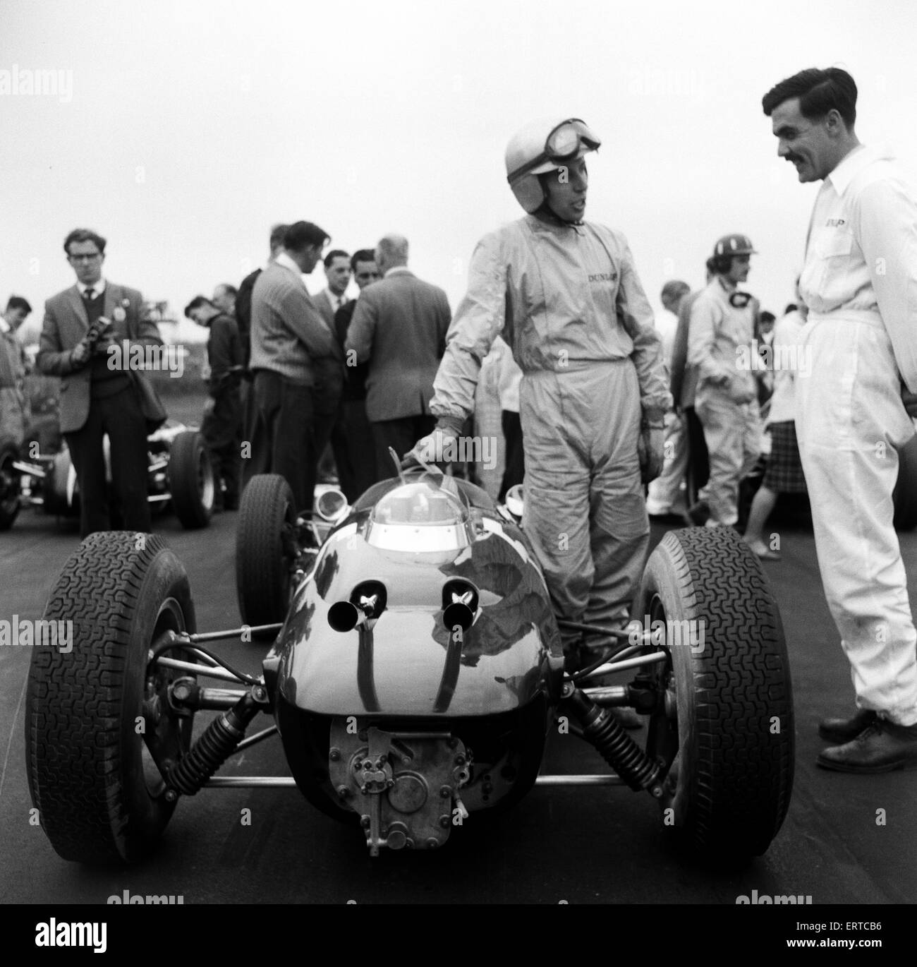 Motor Races at Goodwood. John Surtees with the new Lola Climax. 23rd April 1962. - Stock Image