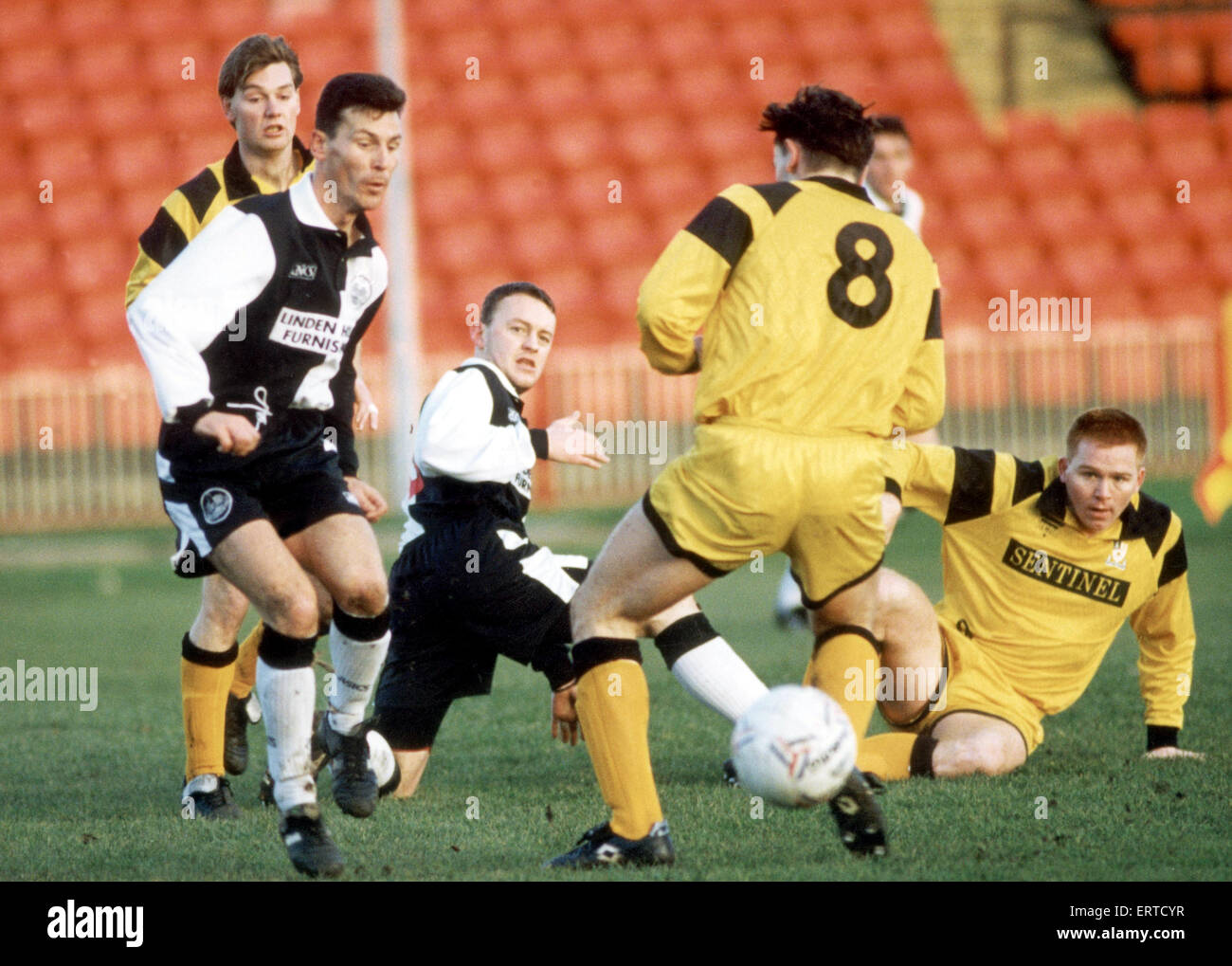 Mark Hine (left) and Alan Lamb (right), Gateshead FC footballers,  playing Stafford Rangers, 4th December 1993. - Stock Image