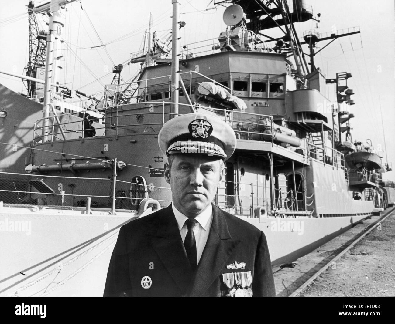 Commander Lloyd H Adams captain of the USS Barry a Sherman Class Destroyer which is visiting Middlesbrough as part - Stock Image