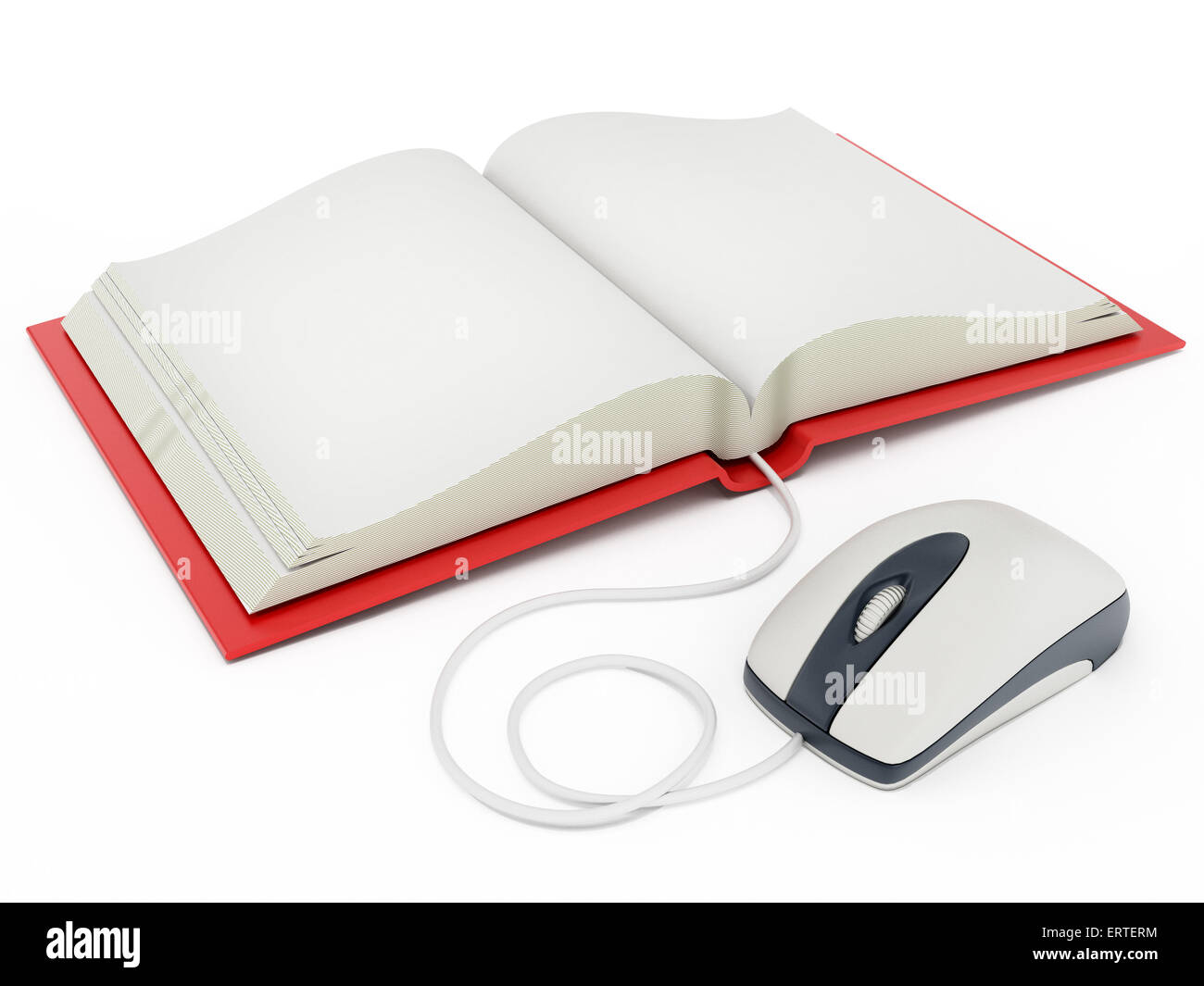 Computer mouse connected to open book - Stock Image