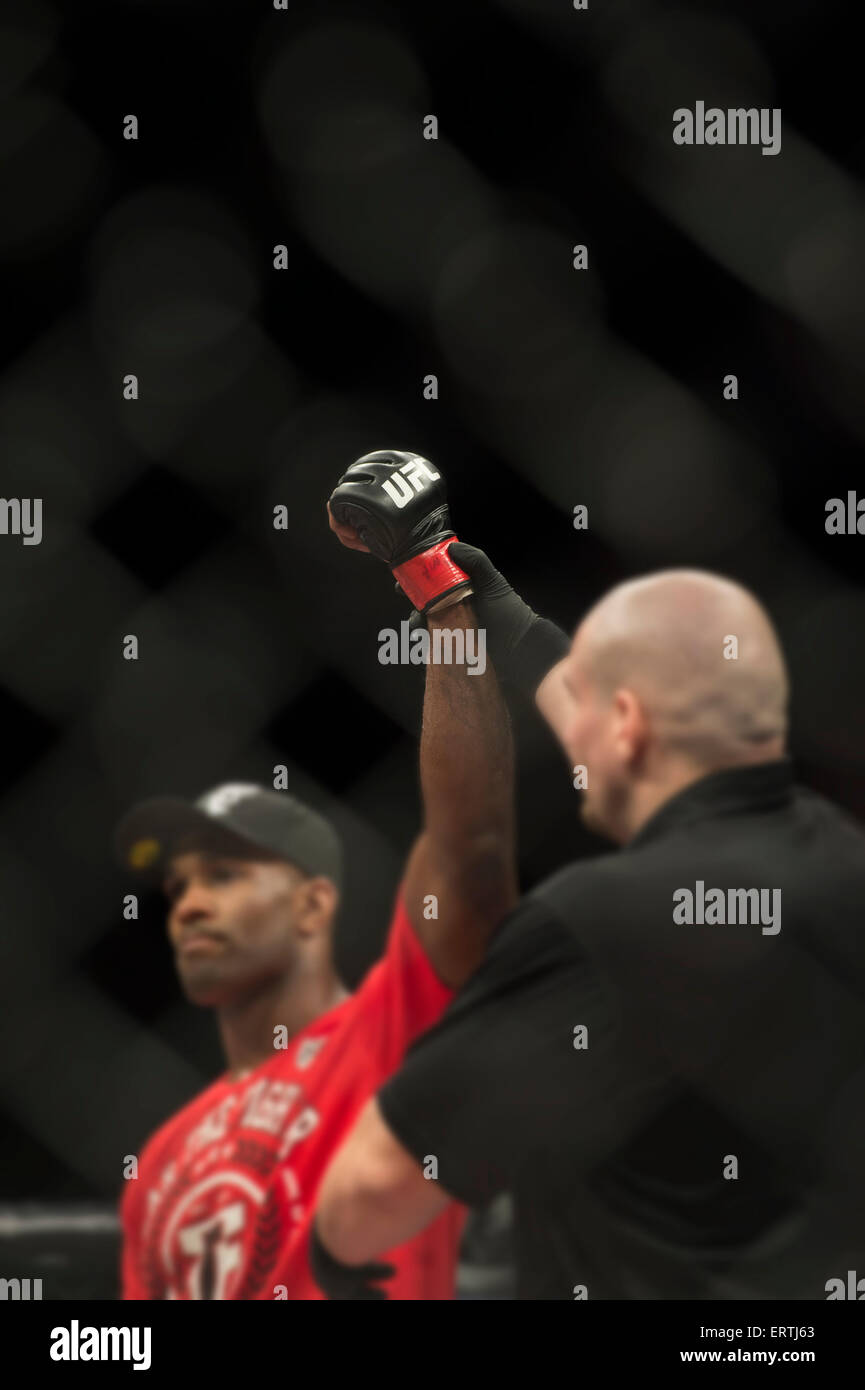 Victory for Jimi Manuwa in the Ultimate fighting championships UFC MMA Bout - Stock Image