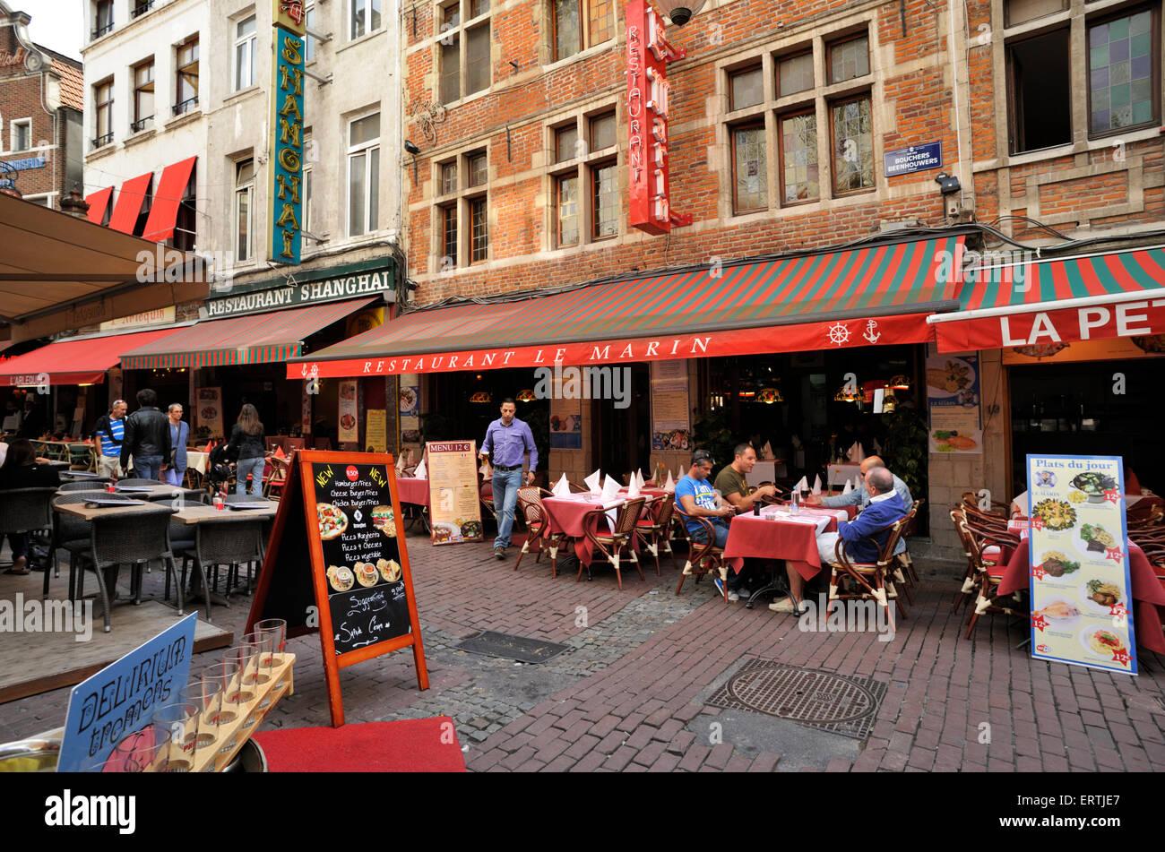 belgium, brussels, rue des bouchers - Stock Image