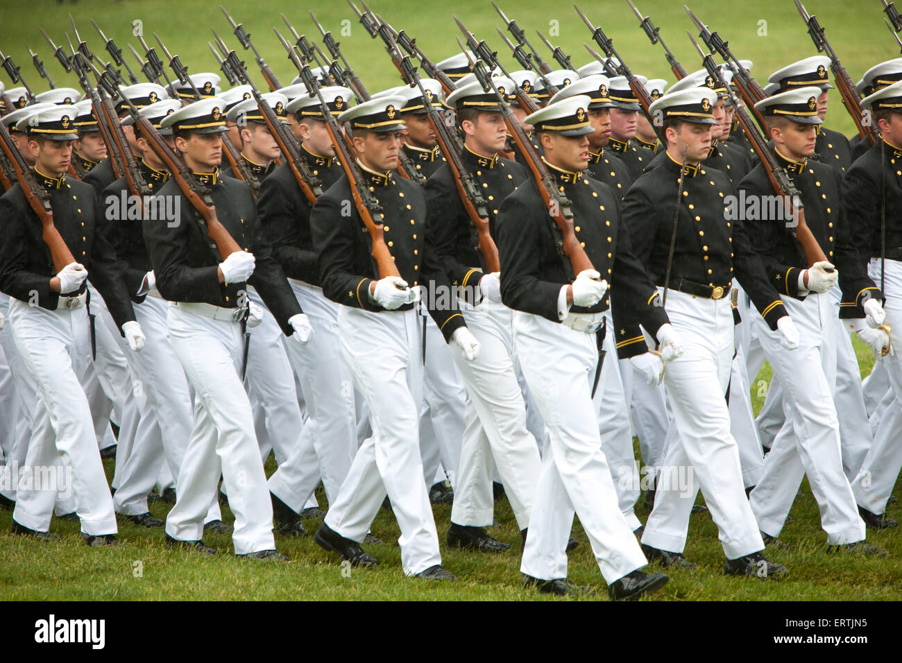 US Naval Academy cadets in formal dress march in the annual Color Parade at Worden Field on May 21, 2015 in Annapolis, - Stock Image