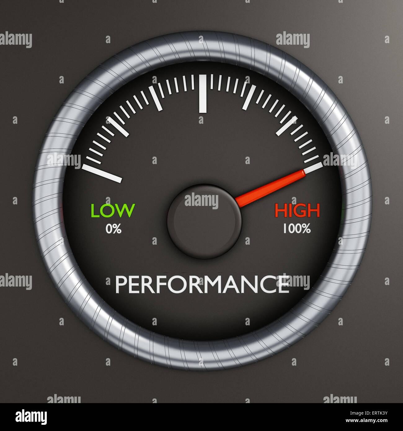 Performance meter indicates high performance - Stock Image