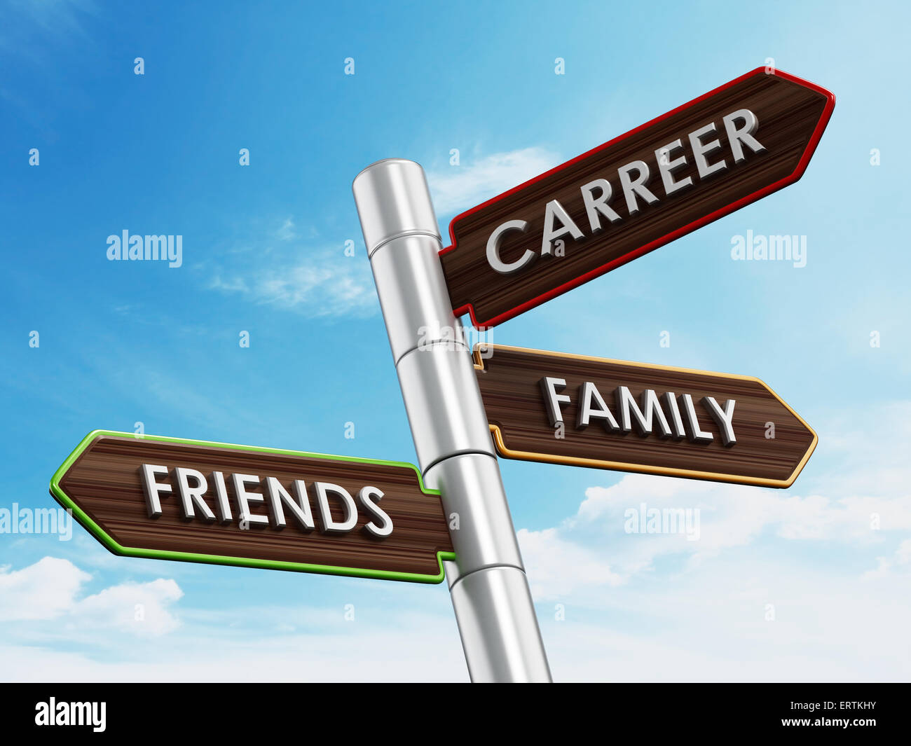 Carreer, family and friends post against blue background - Stock Image