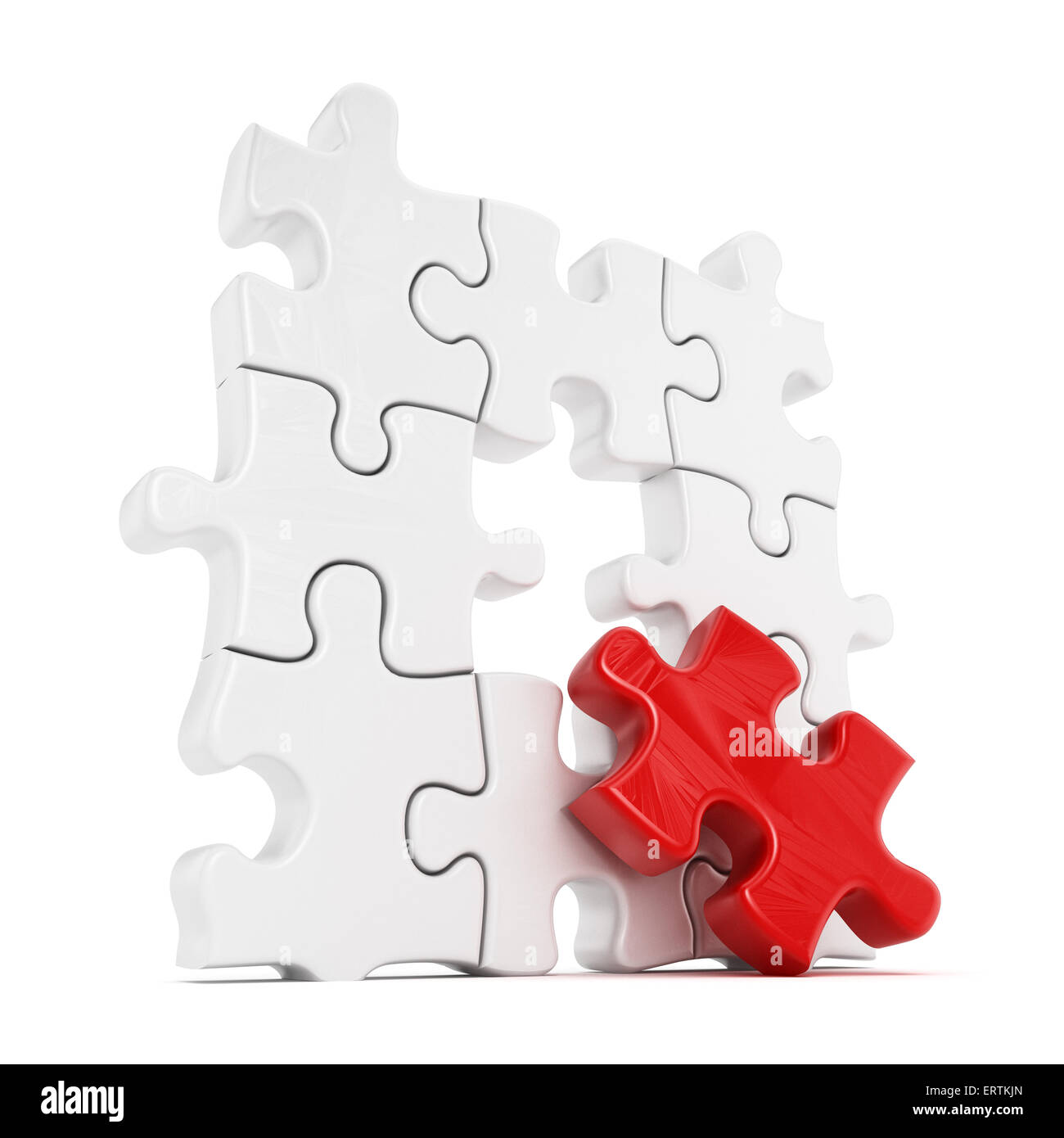 Puzzle with one red part missing isolated on white background - Stock Image