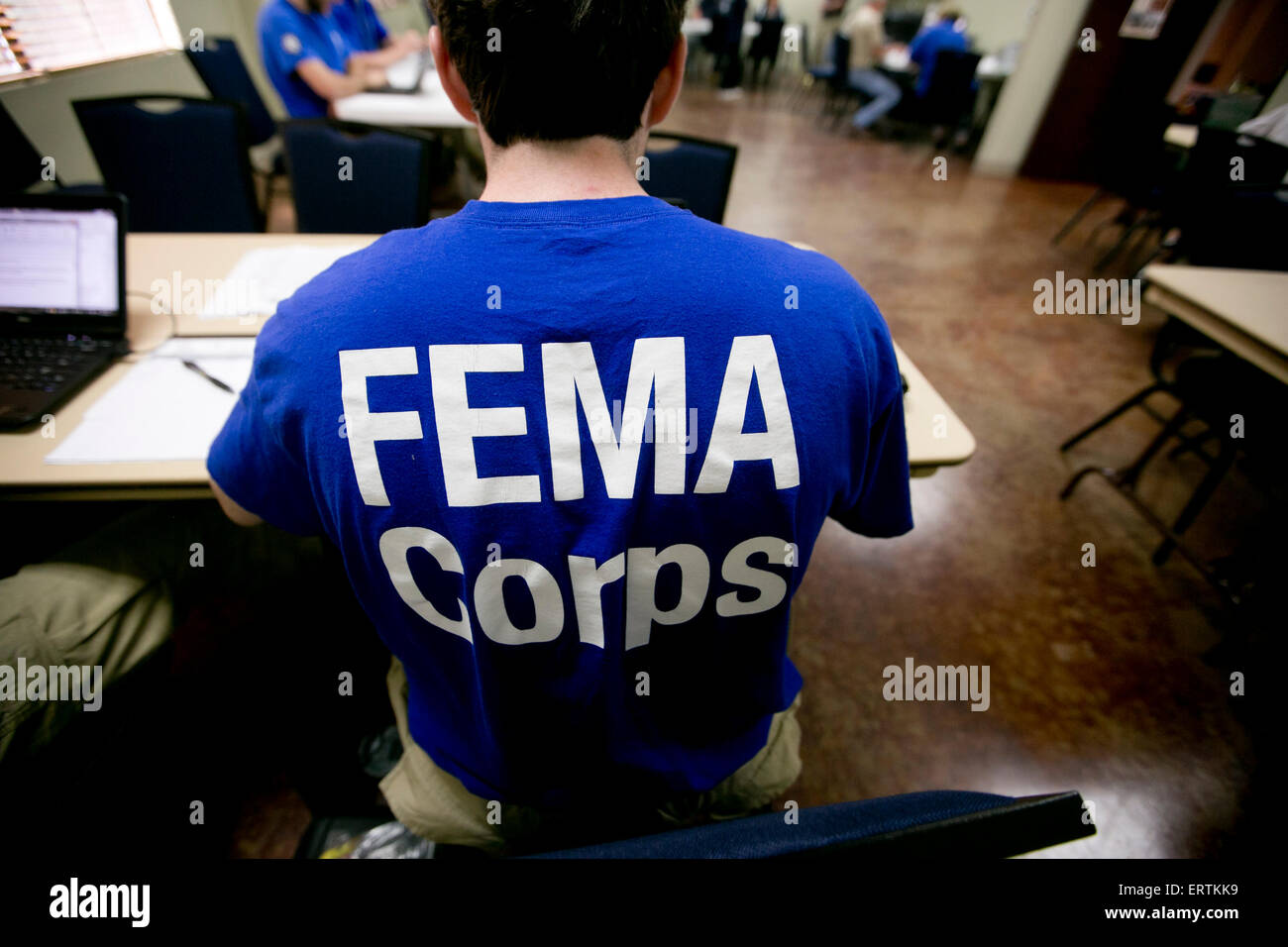 FEMA workers set up to help citizens displaced by disaster flooding - Stock Image
