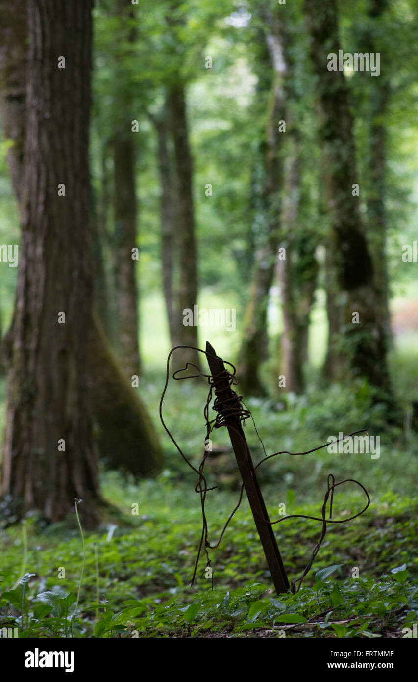 Verdun battlefield, barbed wire stake in forest near Fort de Souville fortress, France - Stock Image