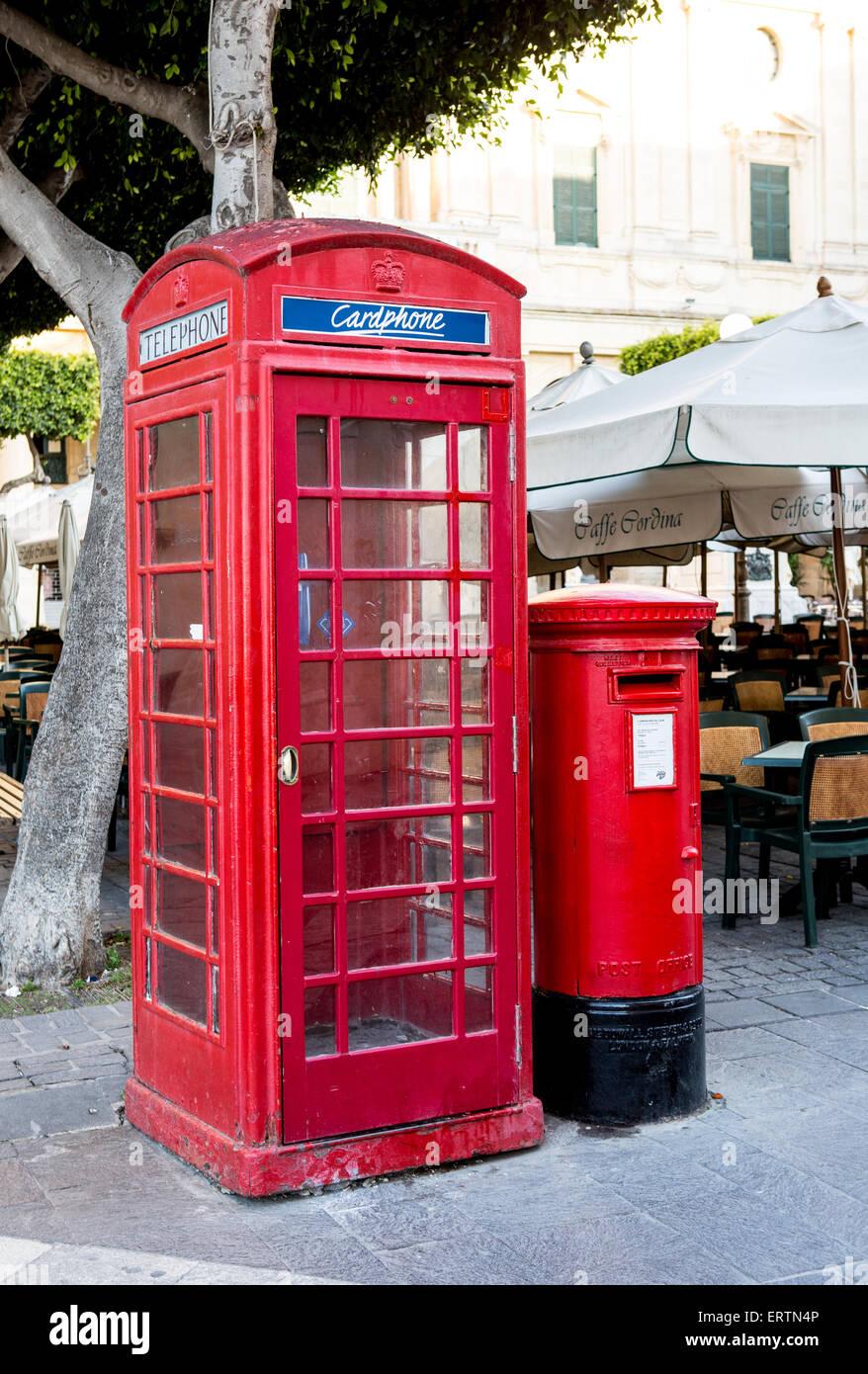 Traditional Red Call Box and Post Box Valletta Malta - Stock Image