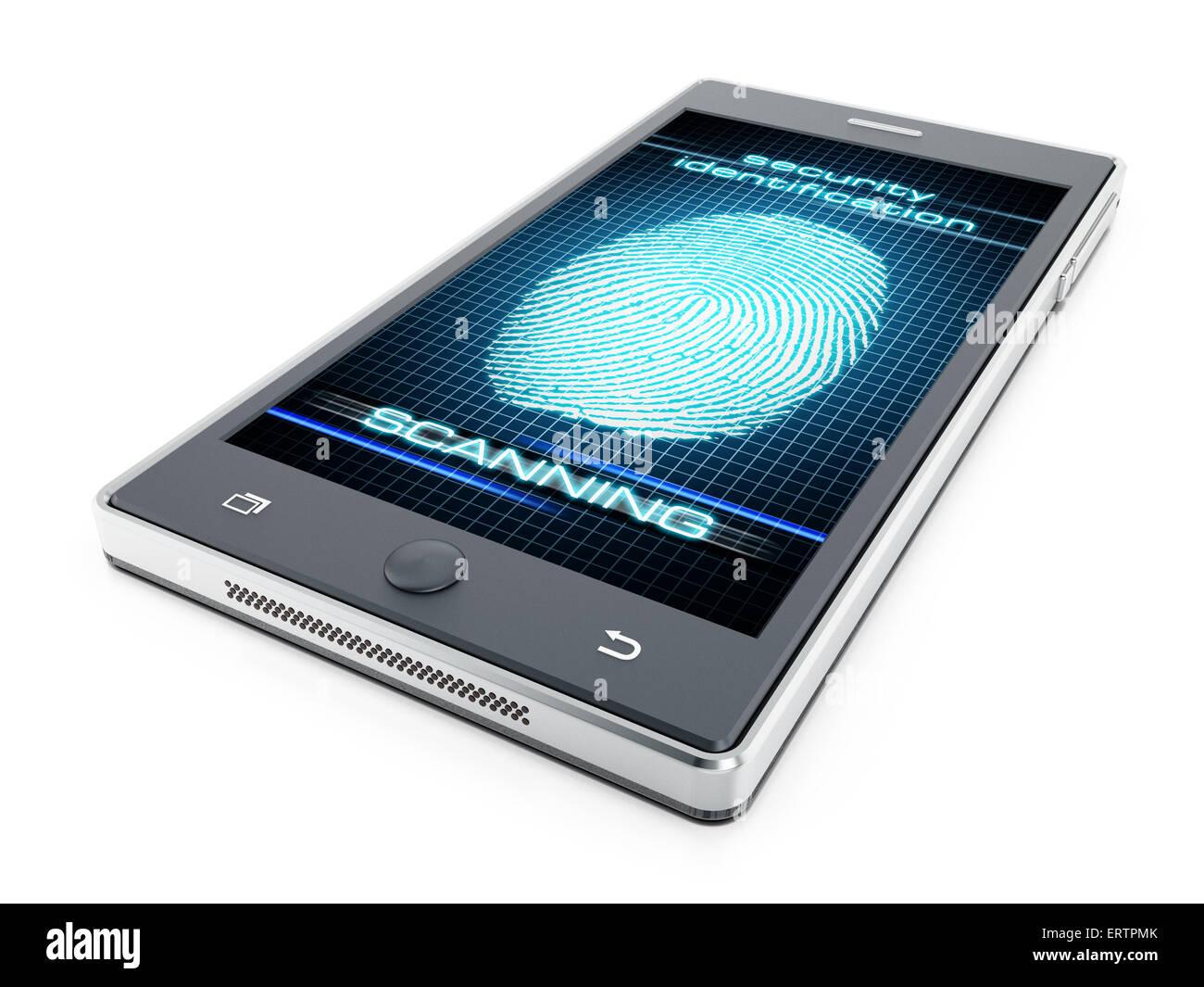 Smart phone fingerprint authentication concept - Stock Image