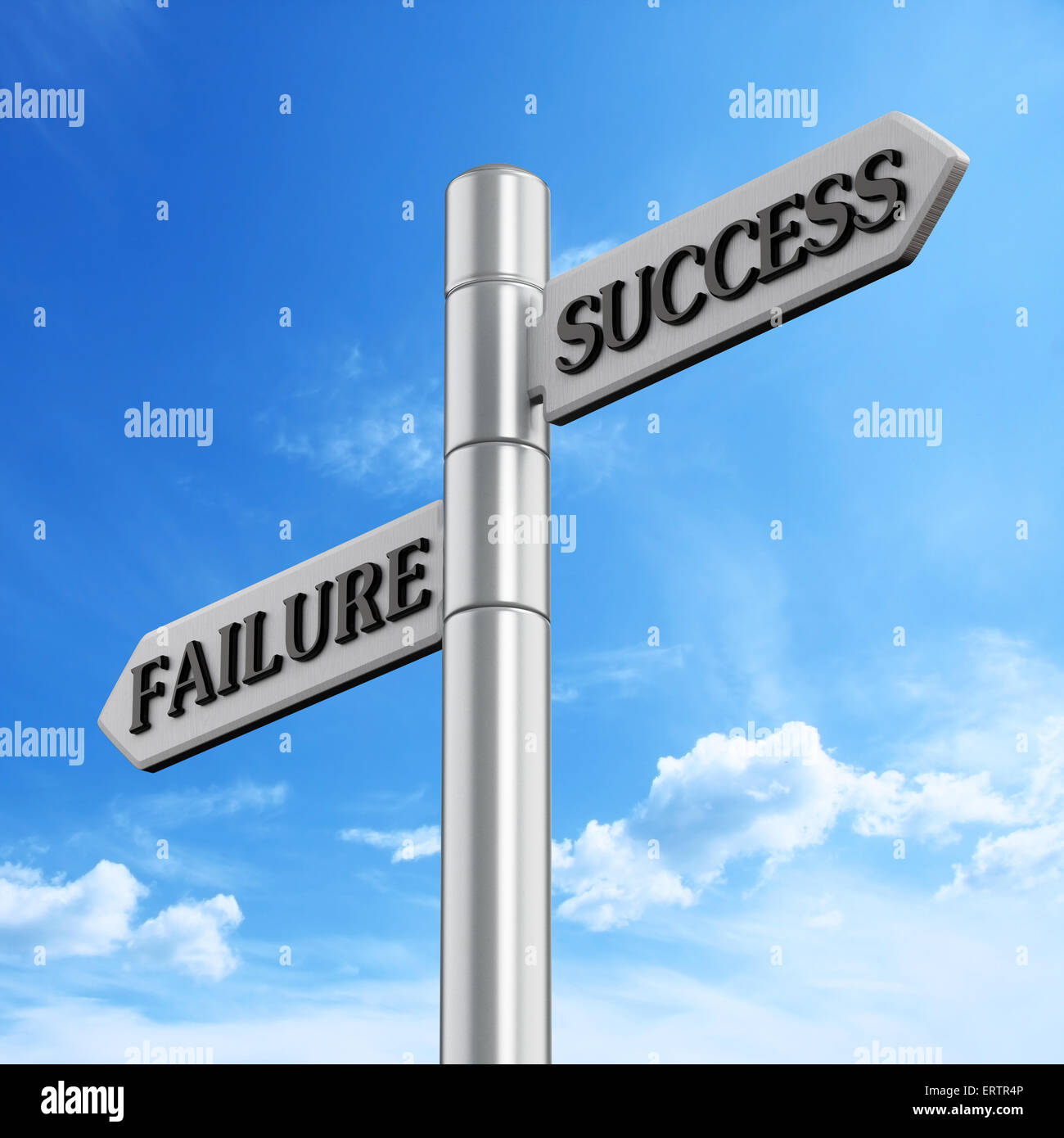 Success and failure road signs against blue sky - Stock Image