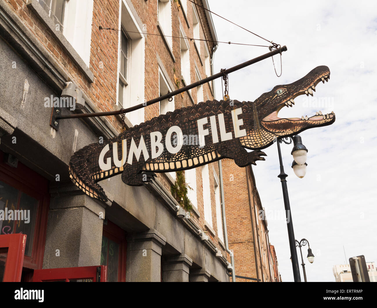 Sign for the local food or spice above a store called Gumbo File in New Orleans, Louisiana, USA - Stock Image