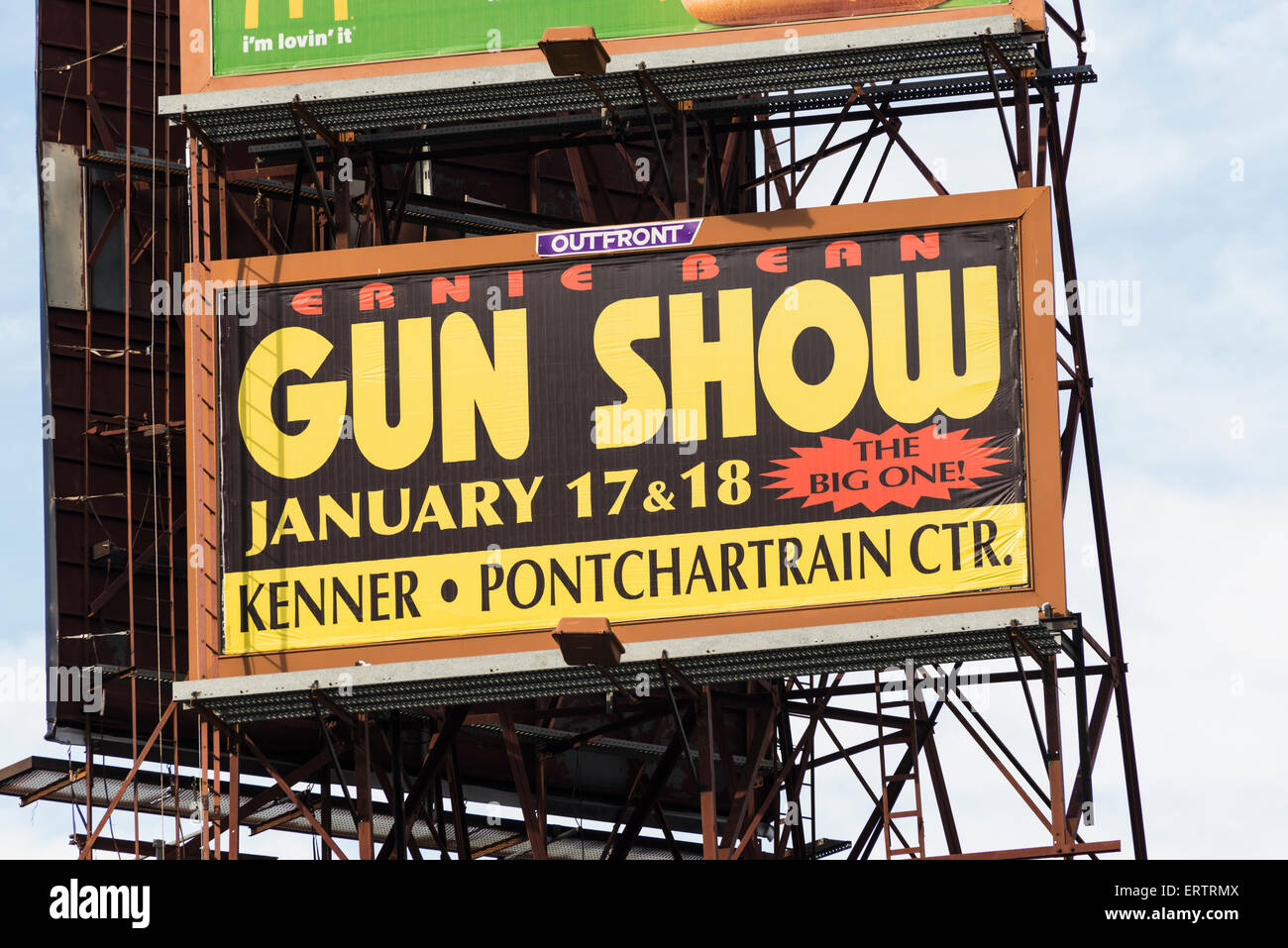 Sign for a gun show in New Orleans, Louisiana, USA - Stock Image