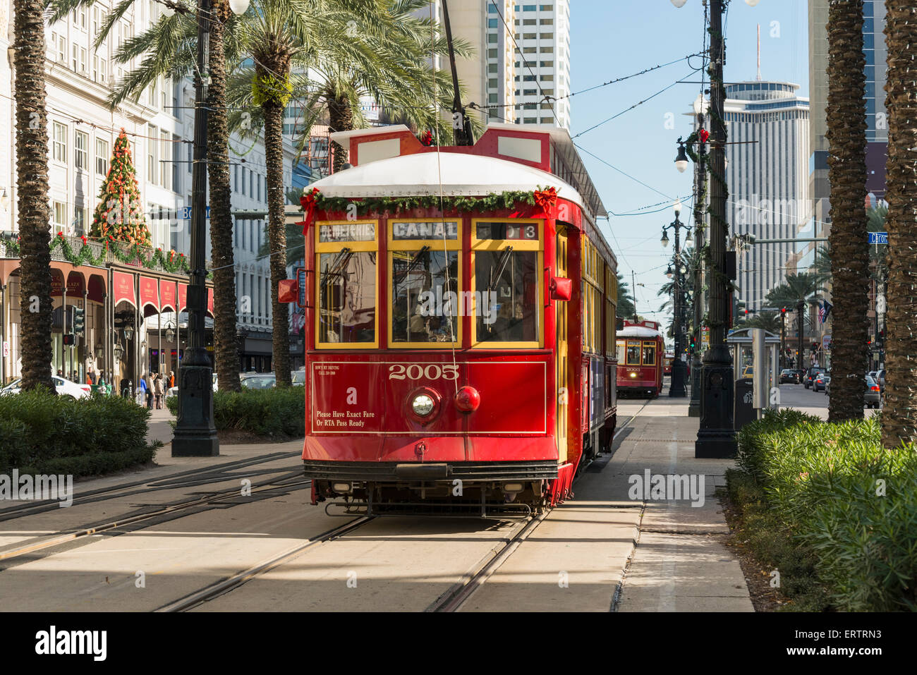 Tram streetcar on Canal Street, New Orleans French Quarter, Louisiana, USA - Stock Image