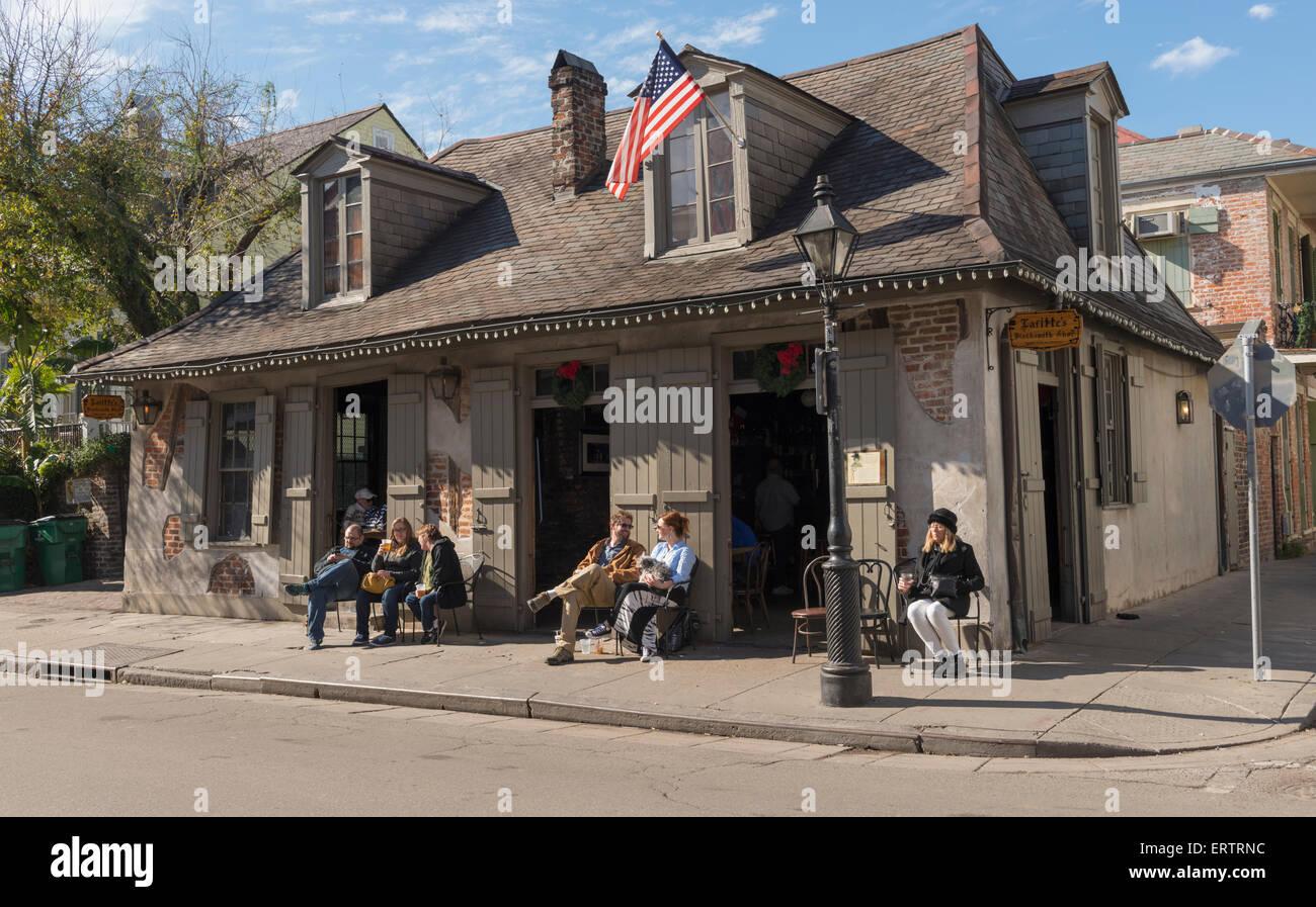 Lafitte's Blacksmith Shop Bar on Bourbon Street, New Orleans French Quarter, Louisiana, USA Stock Photo