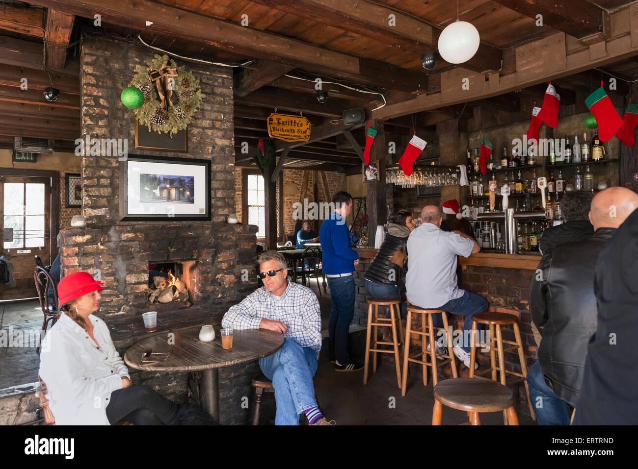 inside lafitte 39 s blacksmith shop bar on bourbon street french stock photo 83524041 alamy. Black Bedroom Furniture Sets. Home Design Ideas