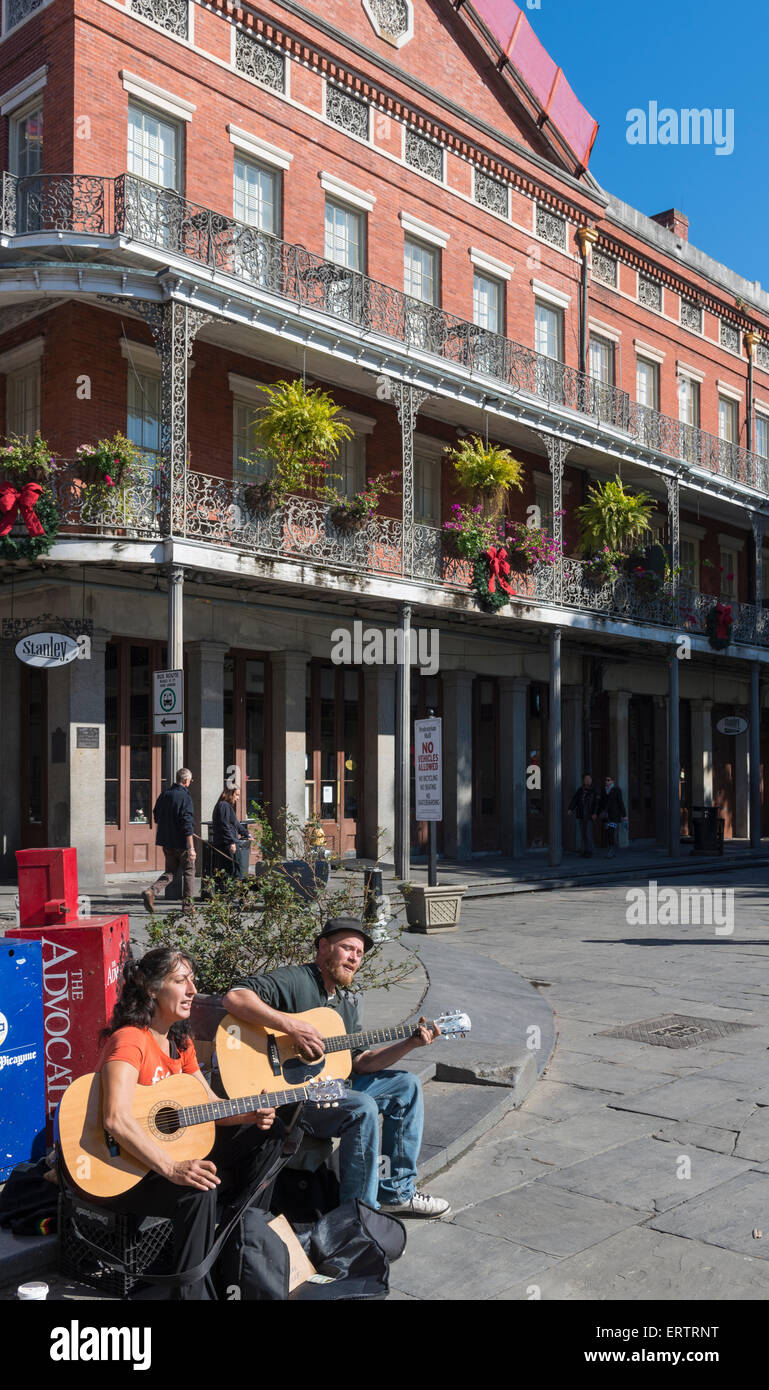 Buskers street musicians playing in the French Quarter, New Orleans, Louisiana, USA - Stock Image