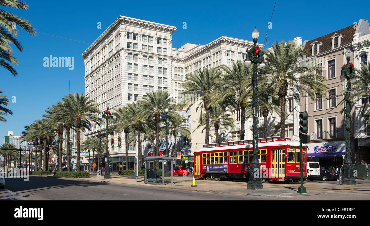 Canal Street, New Orleans French Quarter, Louisiana, USA with streetcar tram - Stock Image