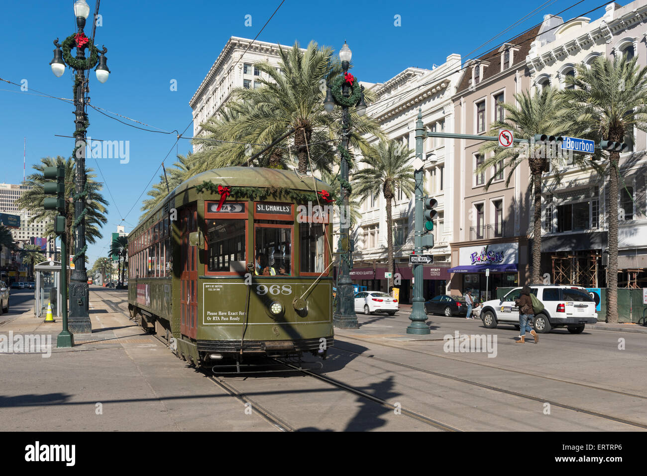 Streetcar tram on Canal Street, New Orleans French Quarter, Louisiana, USA - Stock Image