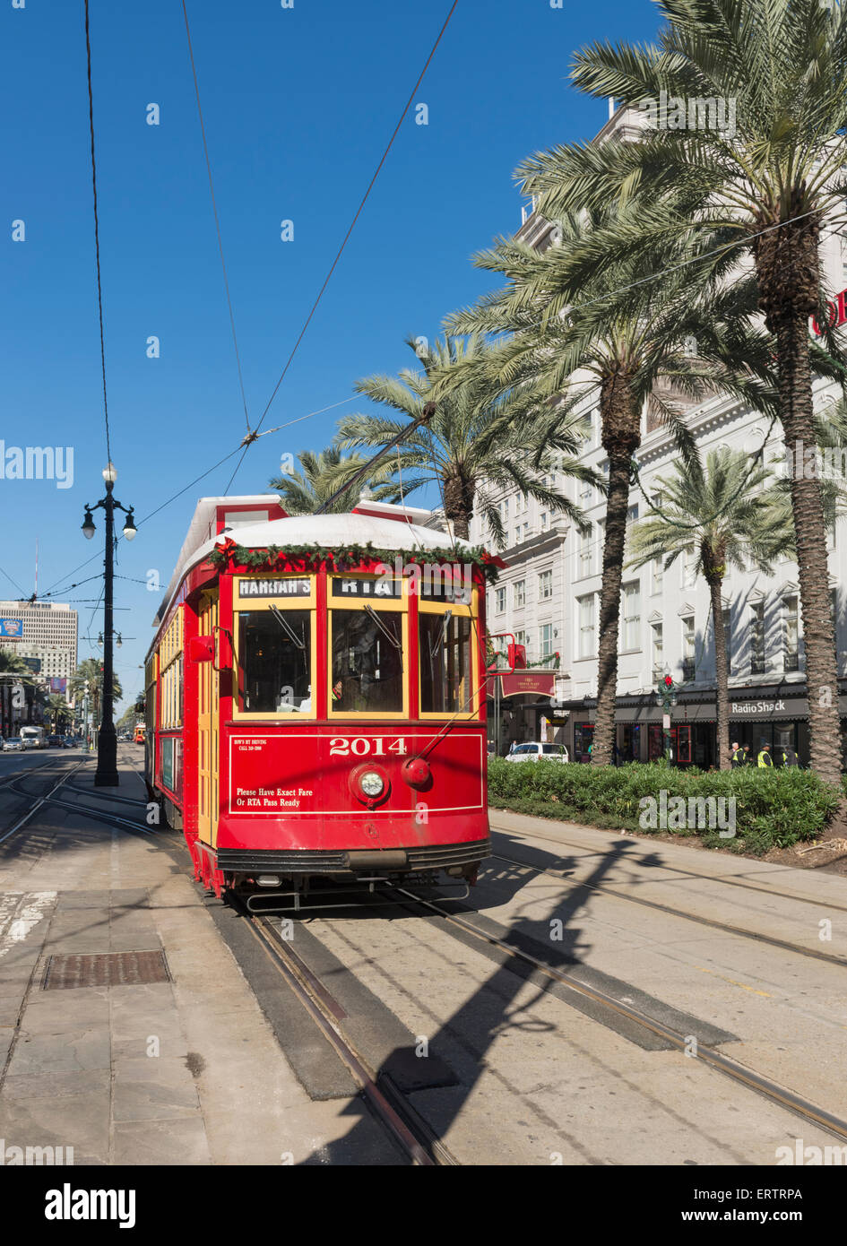 Streetcar on Canal Street, New Orleans French Quarter, Louisiana, USA - Stock Image