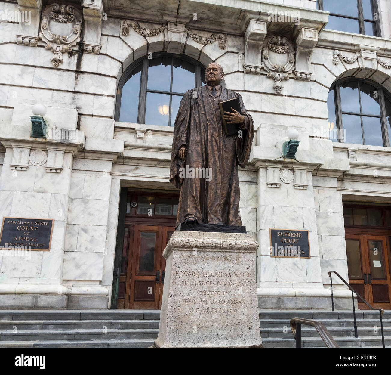Louisiana State Court of Appeal, Fourth Circuit courthouse building with Edward White statue, New Orleans, USA - Stock Image