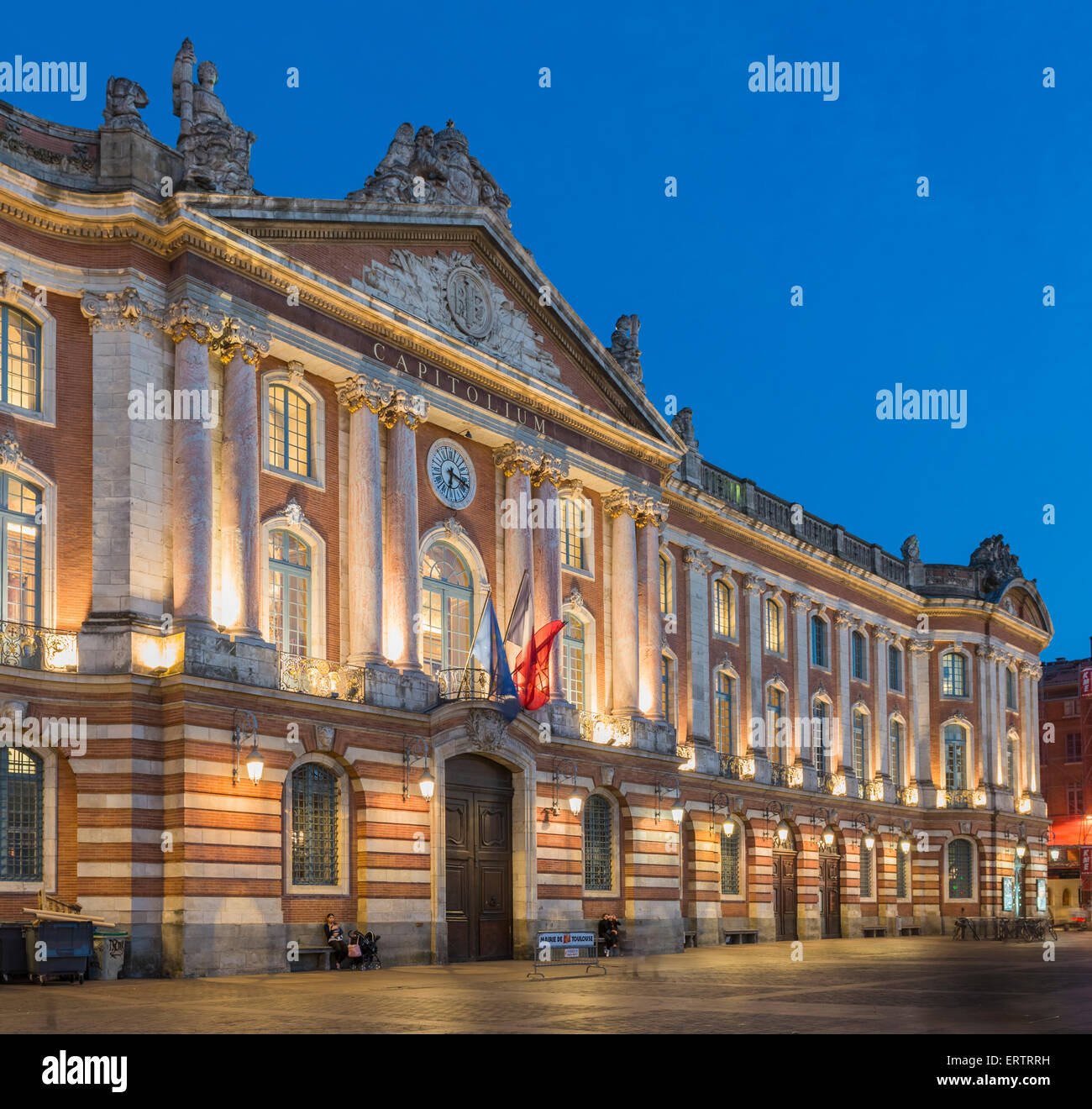 The Capitolium or Capitole city hall in Toulouse, France, Europe at night - Stock Image
