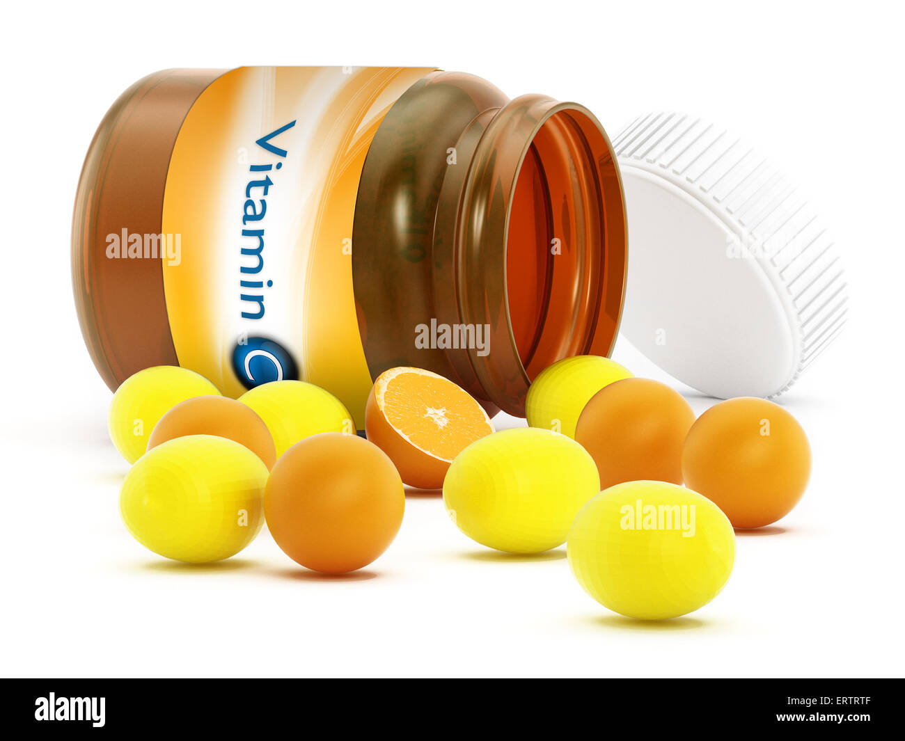 Vitamin C bottle and pills isolated on white background - Stock Image
