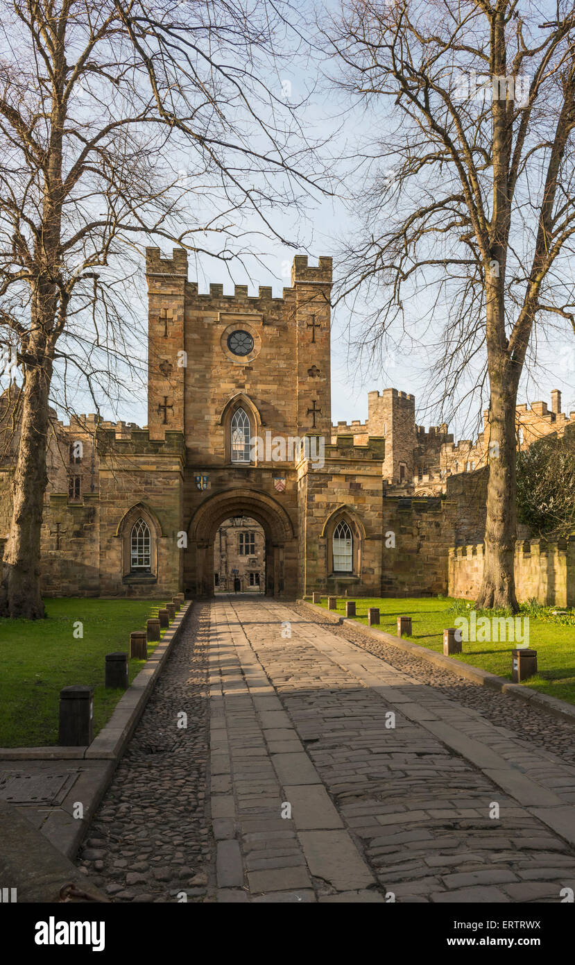 Gates to Durham Castle, now Durham University student accommodation, County Durham, England, UK - Stock Image