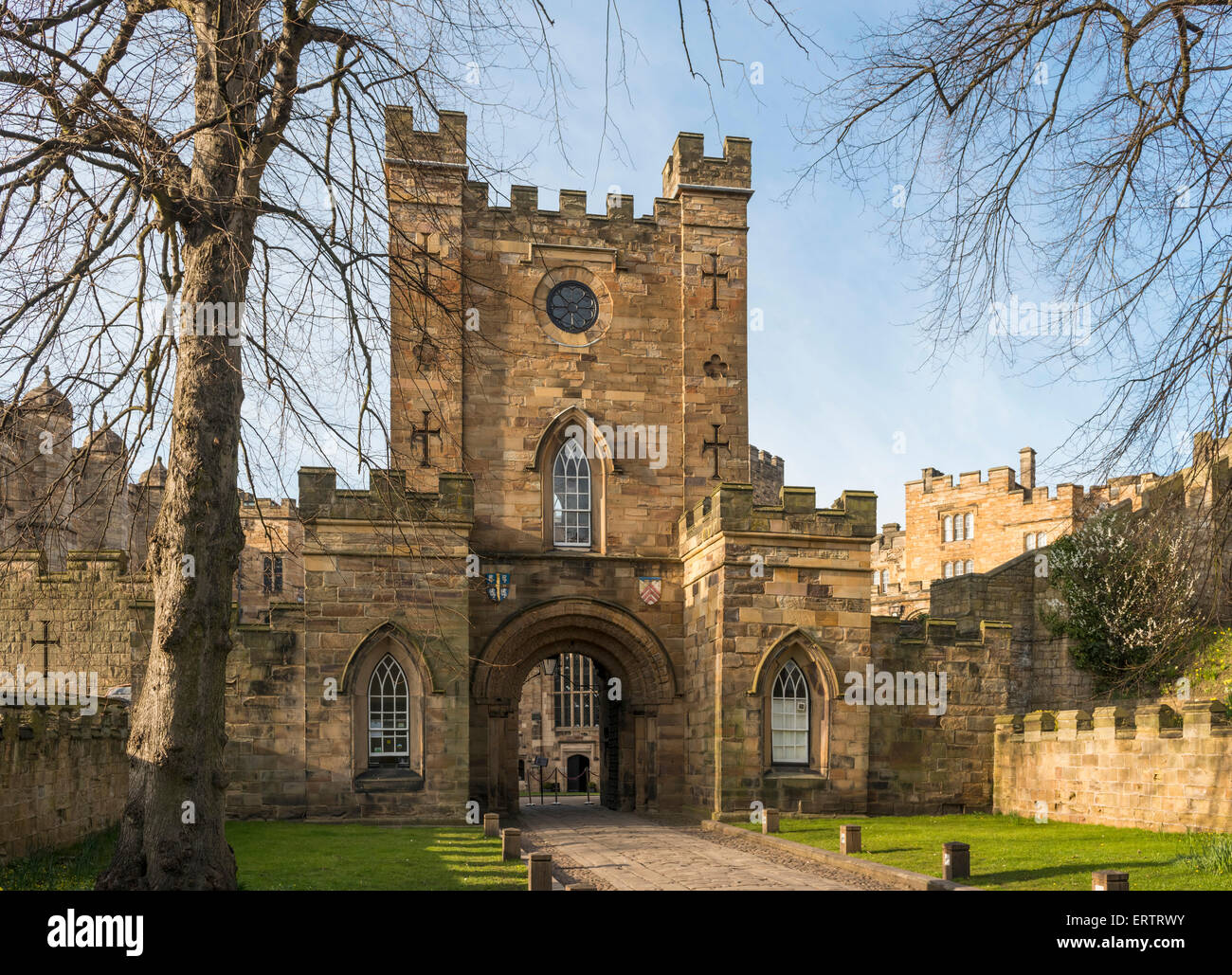 Gate into Durham Castle, now Durham University student accommodation, County Durham, England, UK - Stock Image