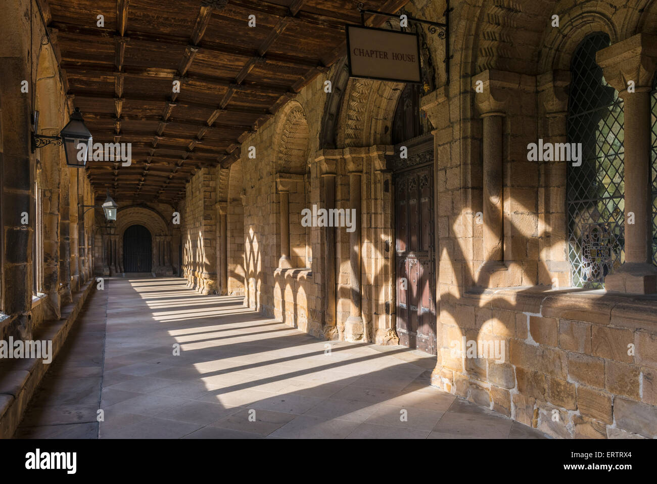 Cloister at Durham Cathedral, Durham, England, UK - Stock Image