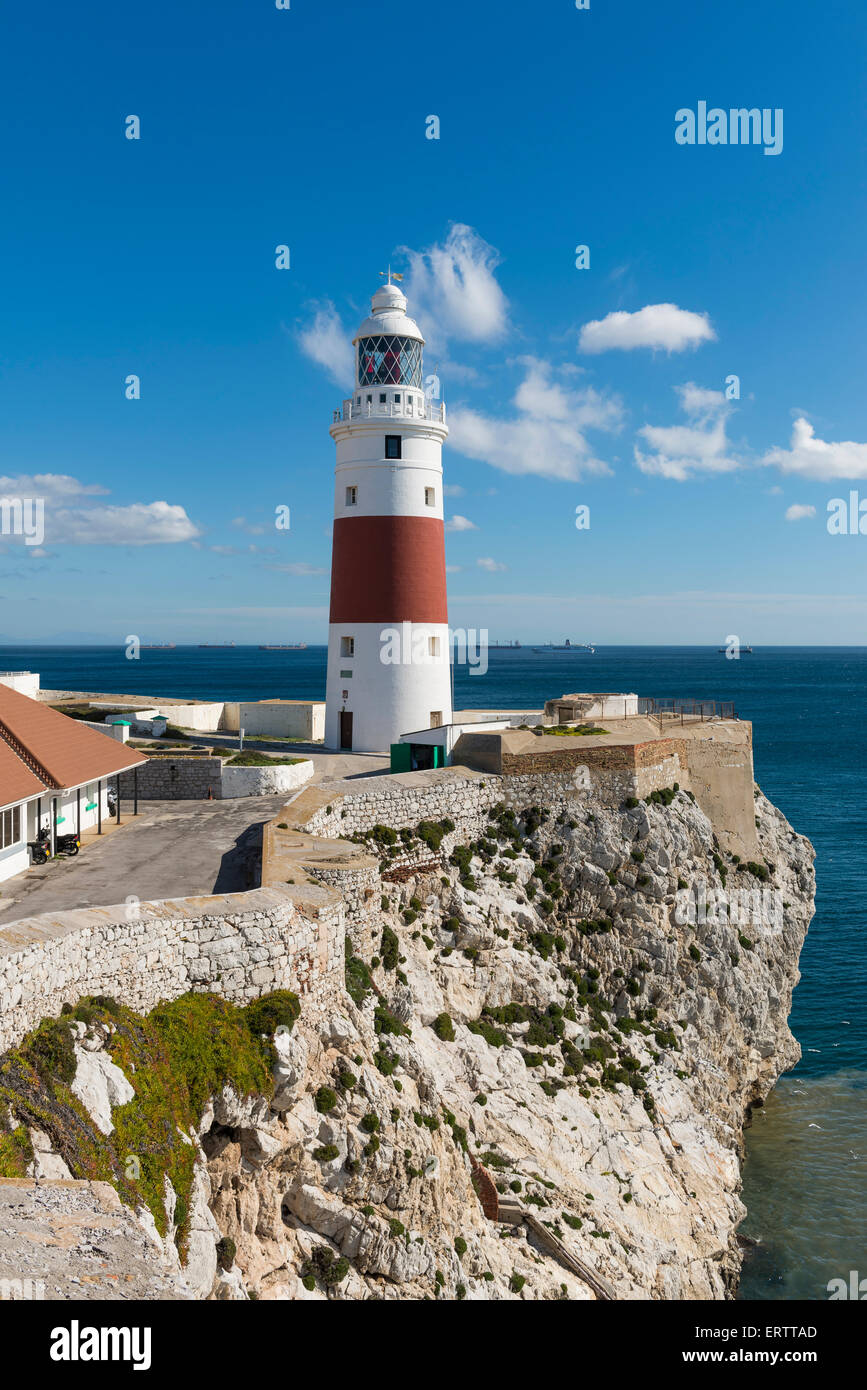Europa Point Lighthouse at the southern most point of Gibraltar, Europe - Stock Image