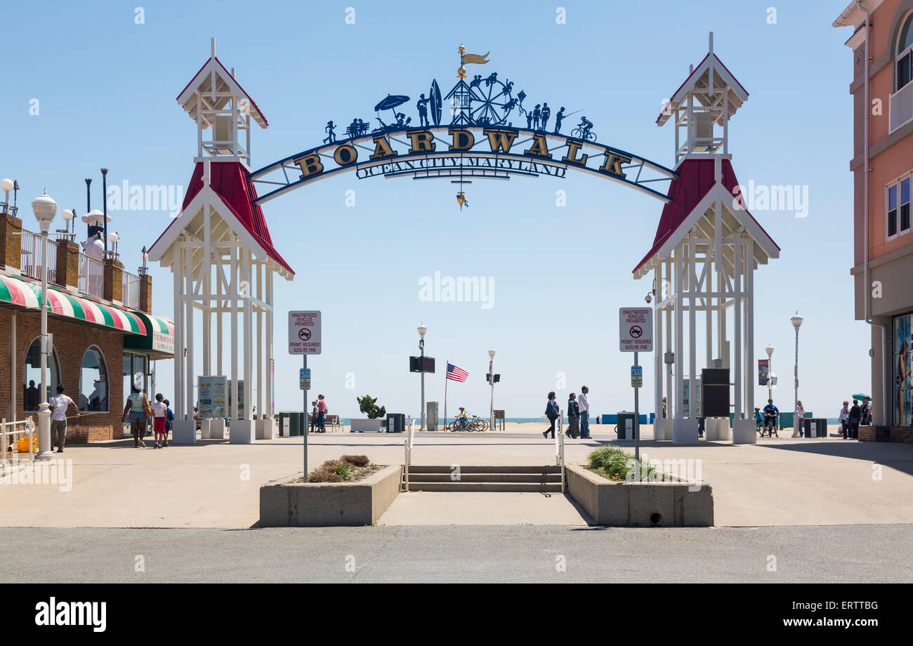 Famous sign above the boardwalk of Ocean City, Maryland, USA in summer - Stock Image